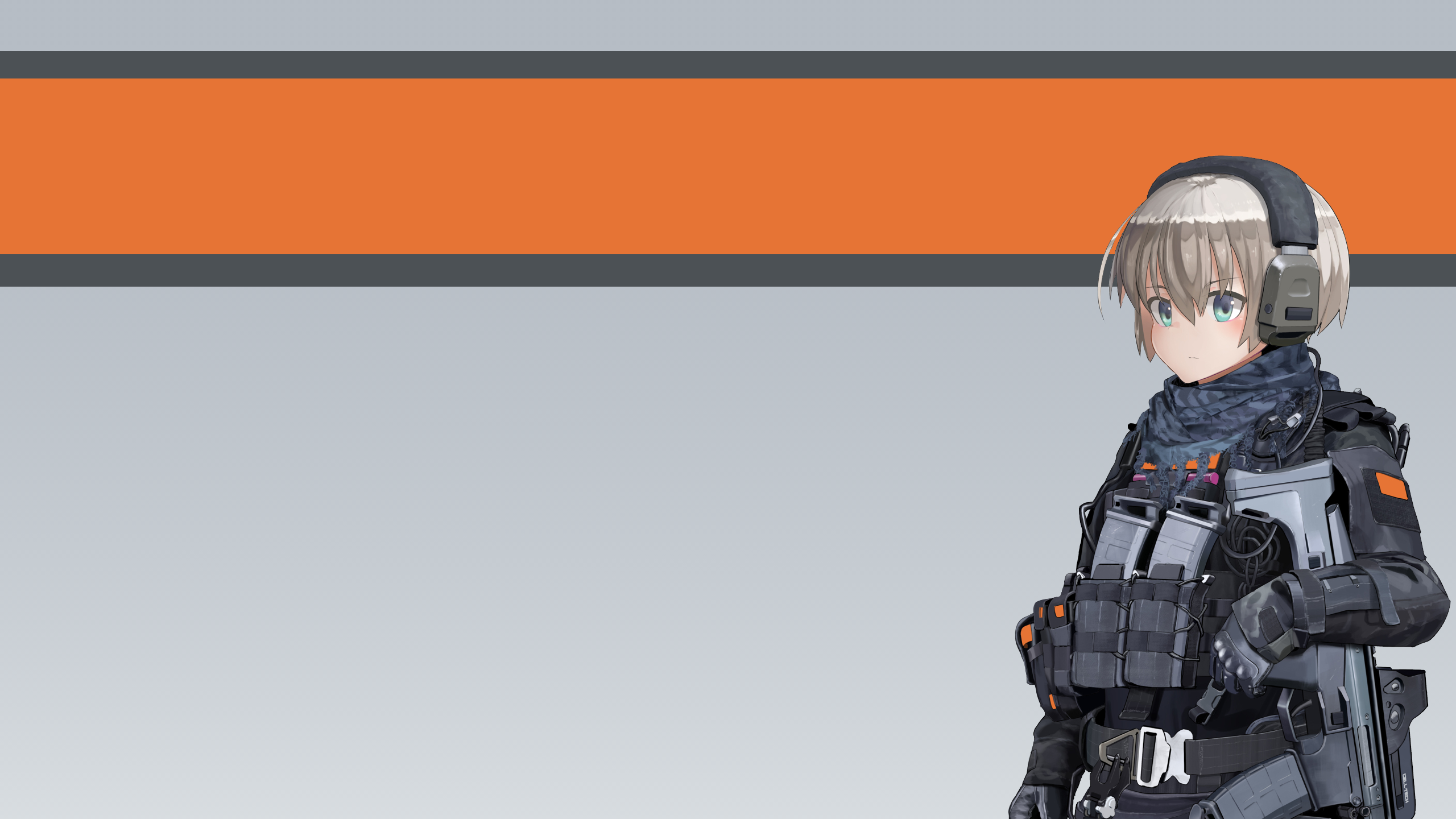 Anime Gun Tactical Camouflage Urban Camo Comtacs Blue Eyes White Hair 2560x1440