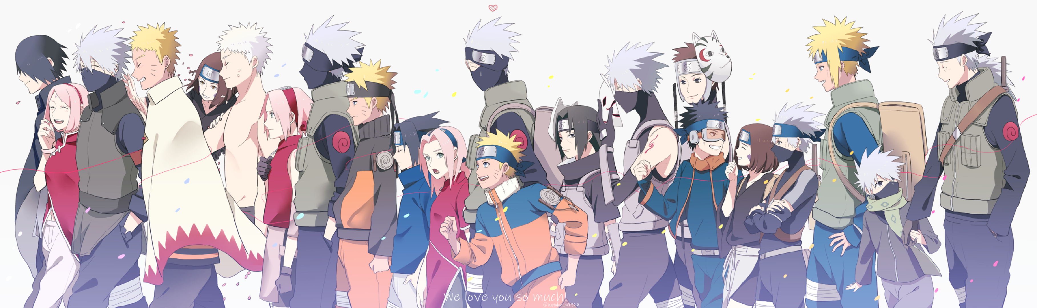 Naruto Uzumaki Sakura Haruno Sasuke Uchiha Kakashi Hatake Obito Uchiha Itachi Uchiha Minato Namikaze 3634x1080