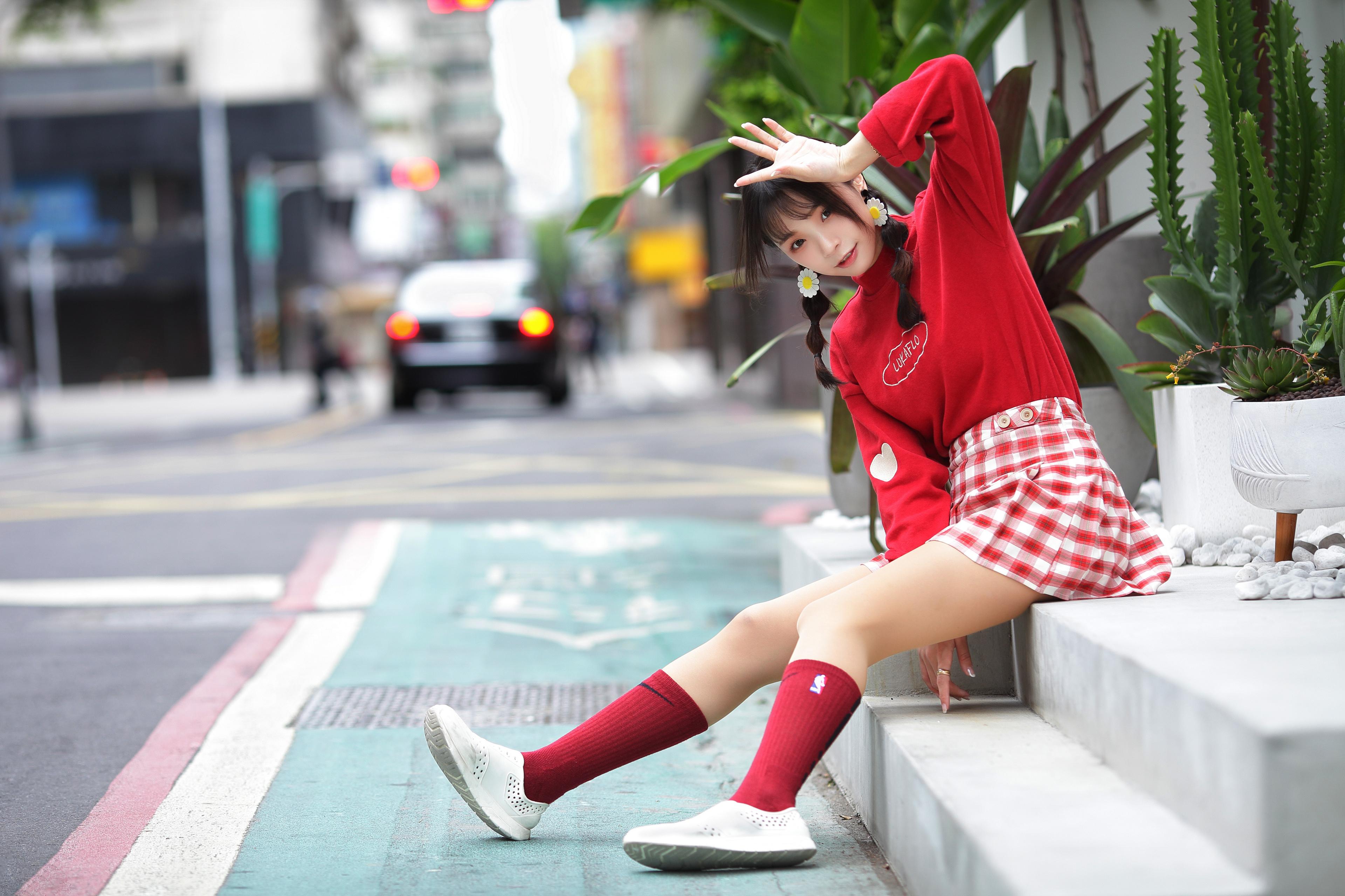 Asian Women Model Long Hair Dark Hair Twintails Braided Hair Red Socks Sneakers Skirt Sitting Stairs 3840x2560