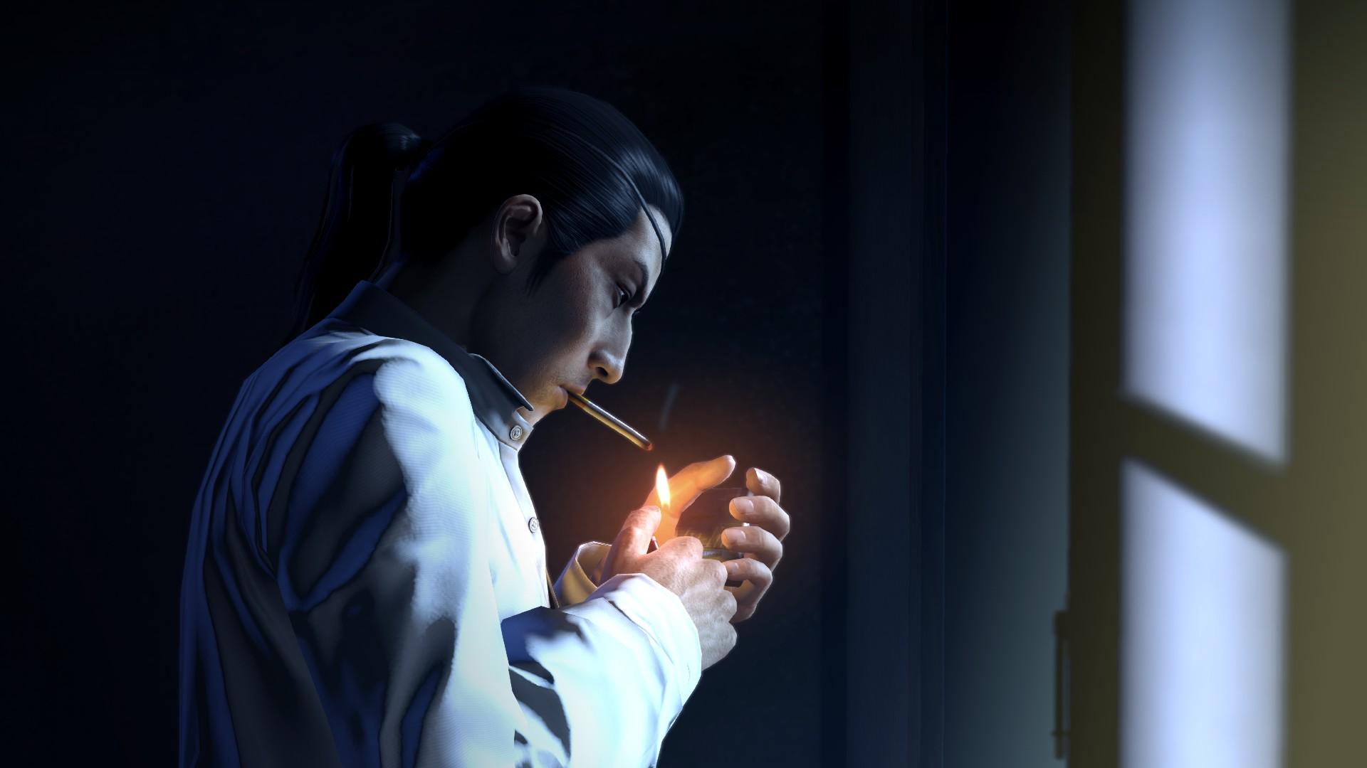 Yakuza Yakuza 0 Video Games Goro Majima Japanese Eyepatches White Shirt Smoke Smoking Window Black H 1920x1080