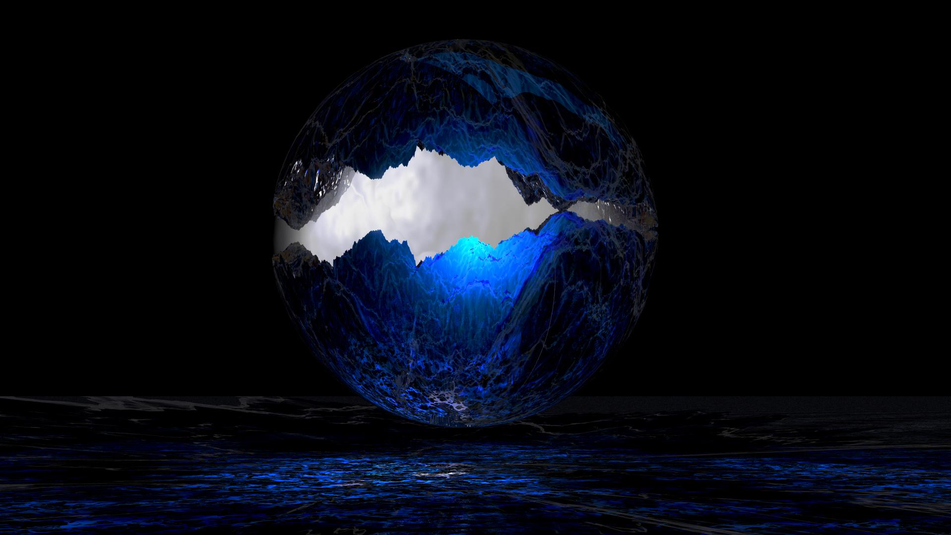 Blue Dark Light Sphere 1920x1080