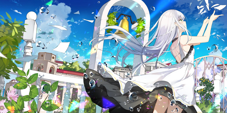 Flower Girl Long Hair White Dress White Hair Wind 3000x1500