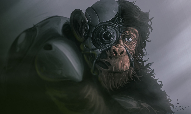 Artwork Science Fiction Monkey Animals 3000x1789