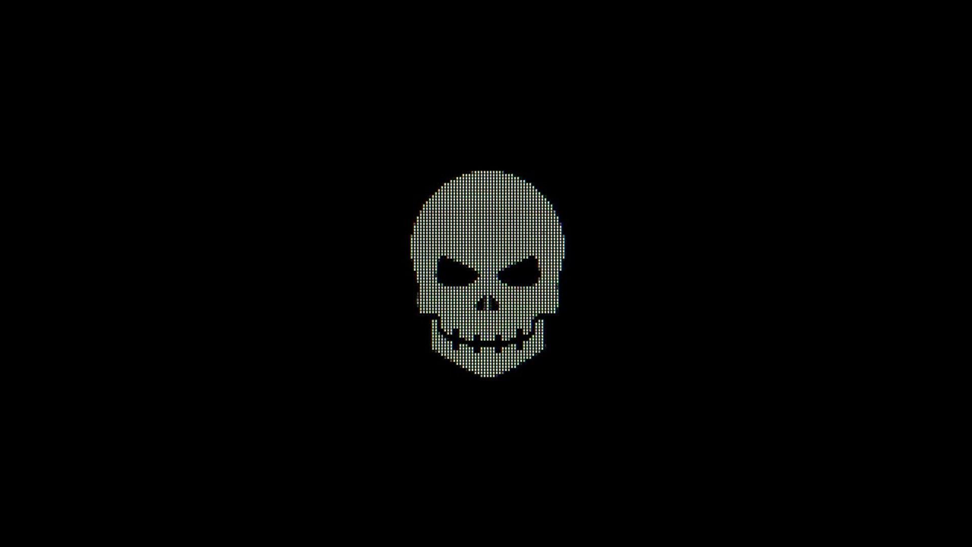 Black Background Skull Minimalism Monochrome 1920x1080