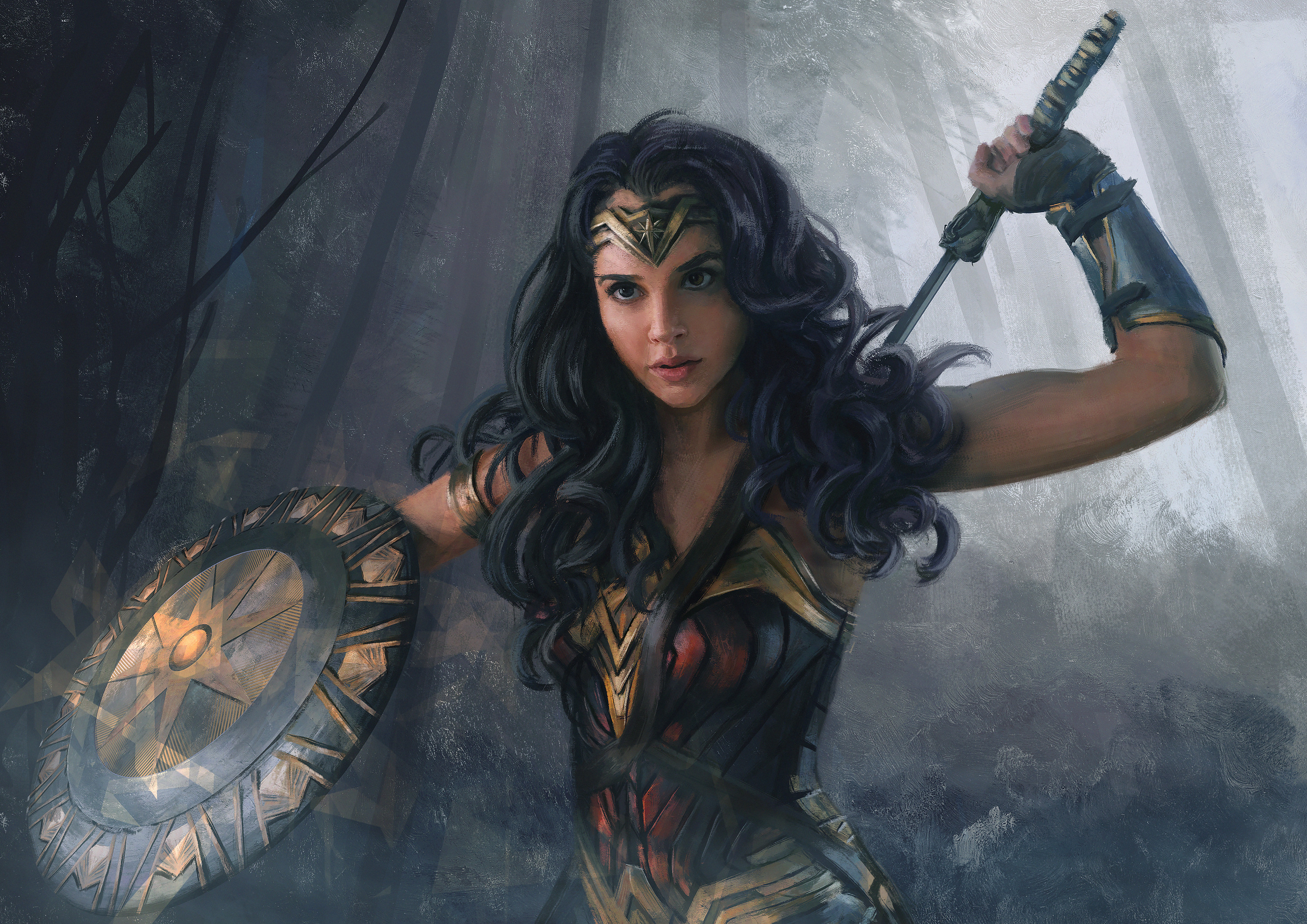 Gal Gadot Artistic Shield Woman Warrior Black Hair 3000x2121