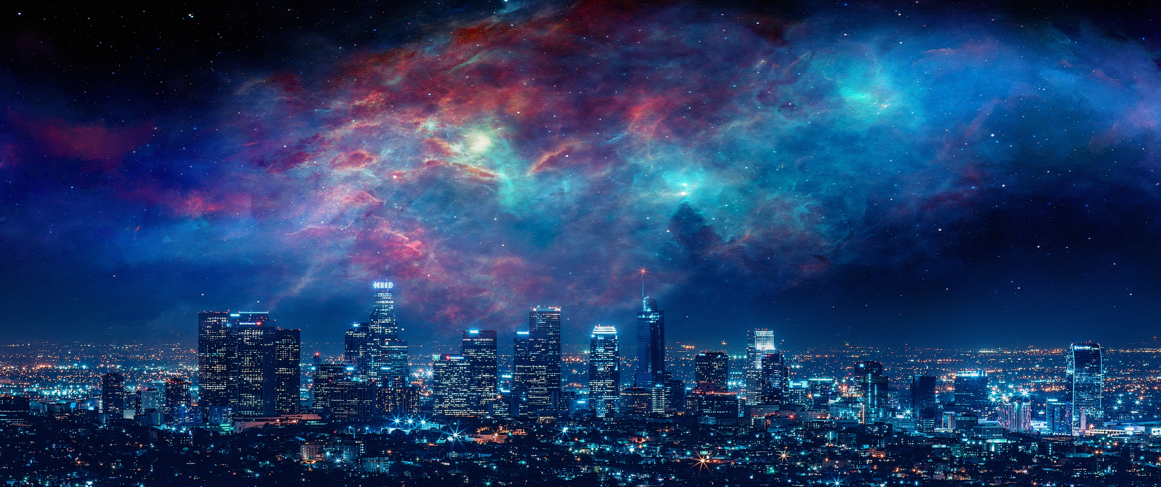 Los Angeles Night Sky Nebula 3765x1581
