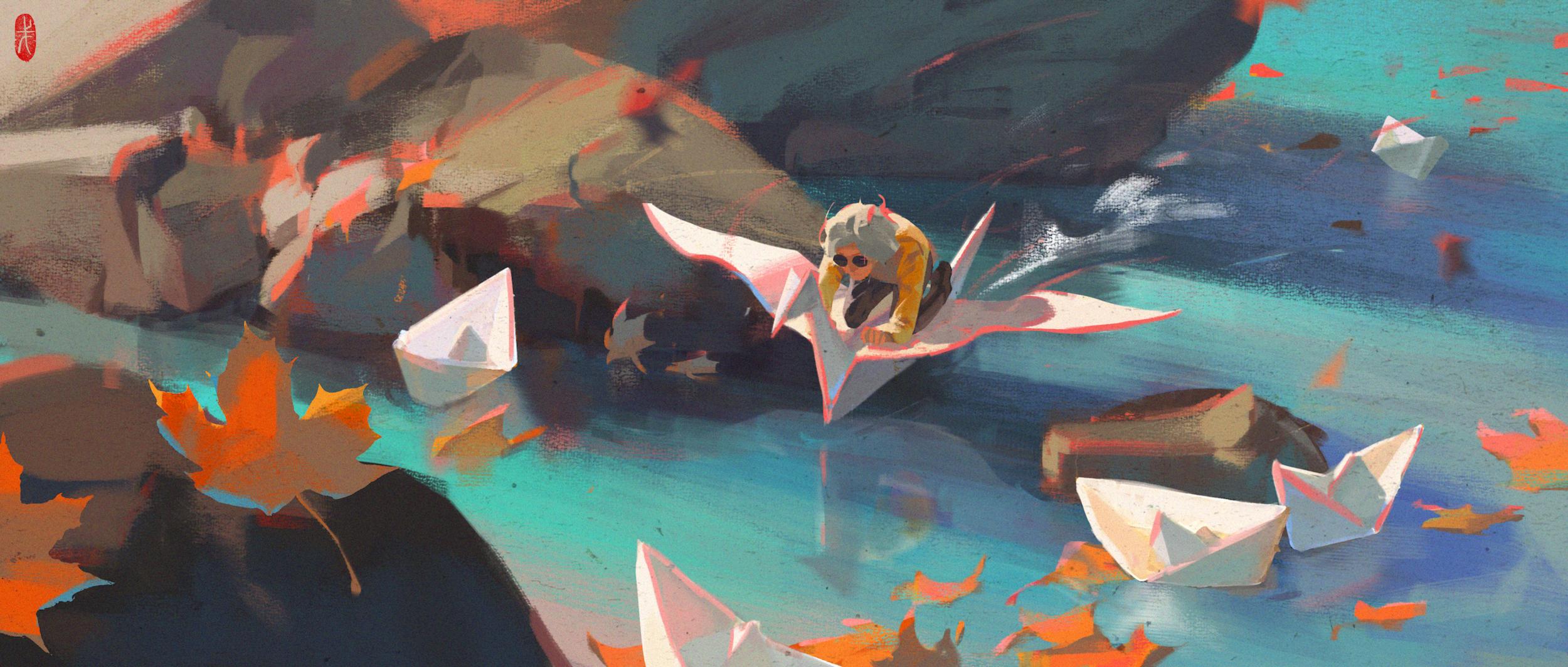 Digital Art Fantasy Art Rocks Paper Boats Petals Flying Men Glasses Paper Cranes Water Origami 2500x1064