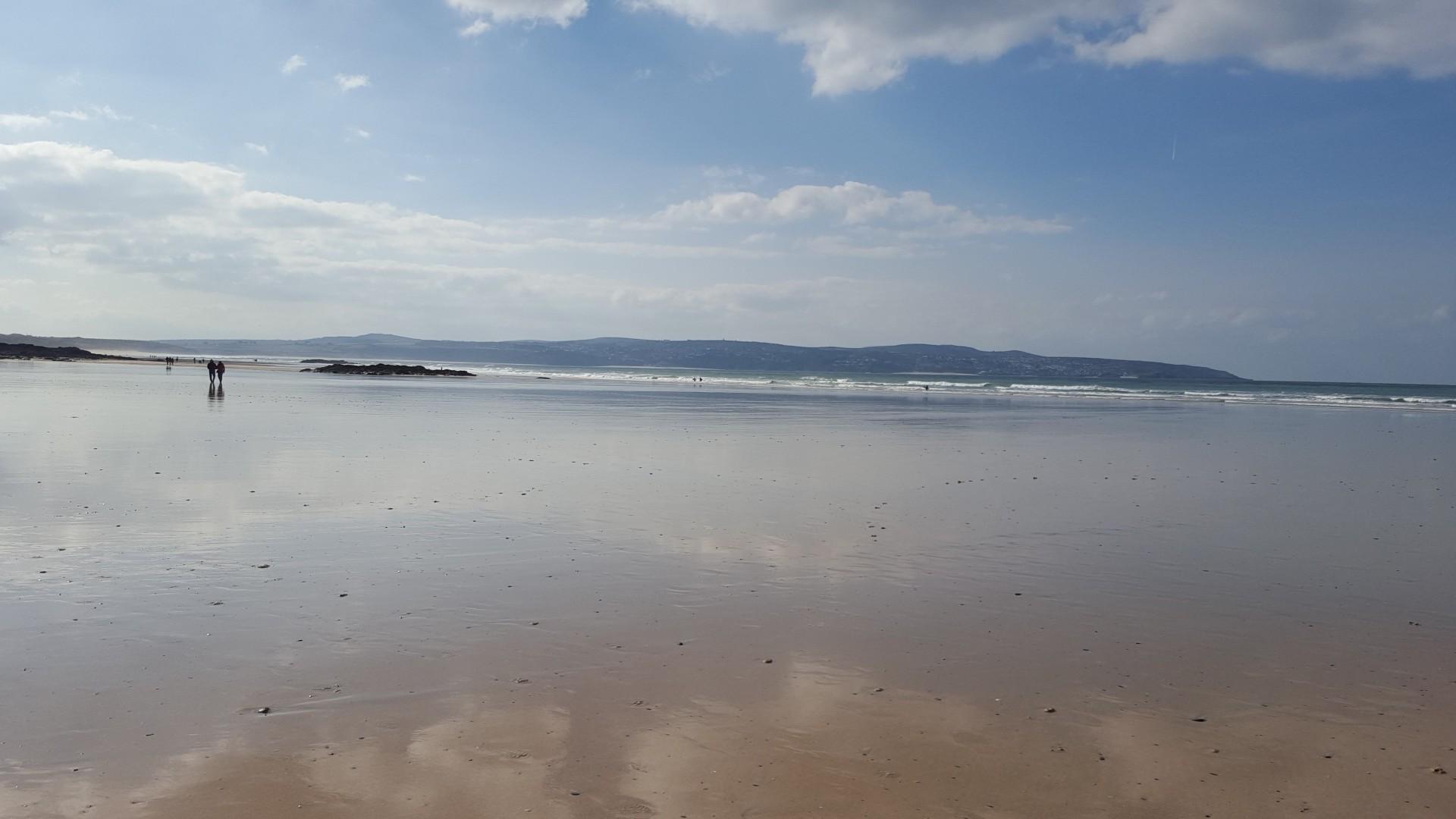 Reflection Beach Landscape Low Tide 1920x1080