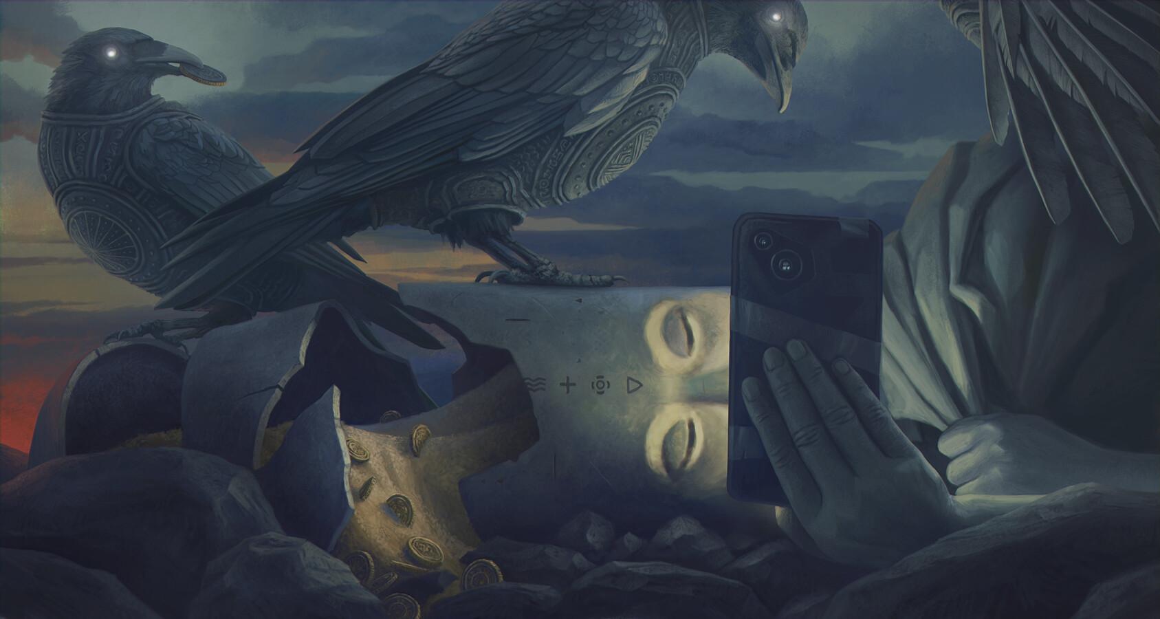 Digital Art Fantasy Art Alexey Egorov Phone Birds Coins 1687x900
