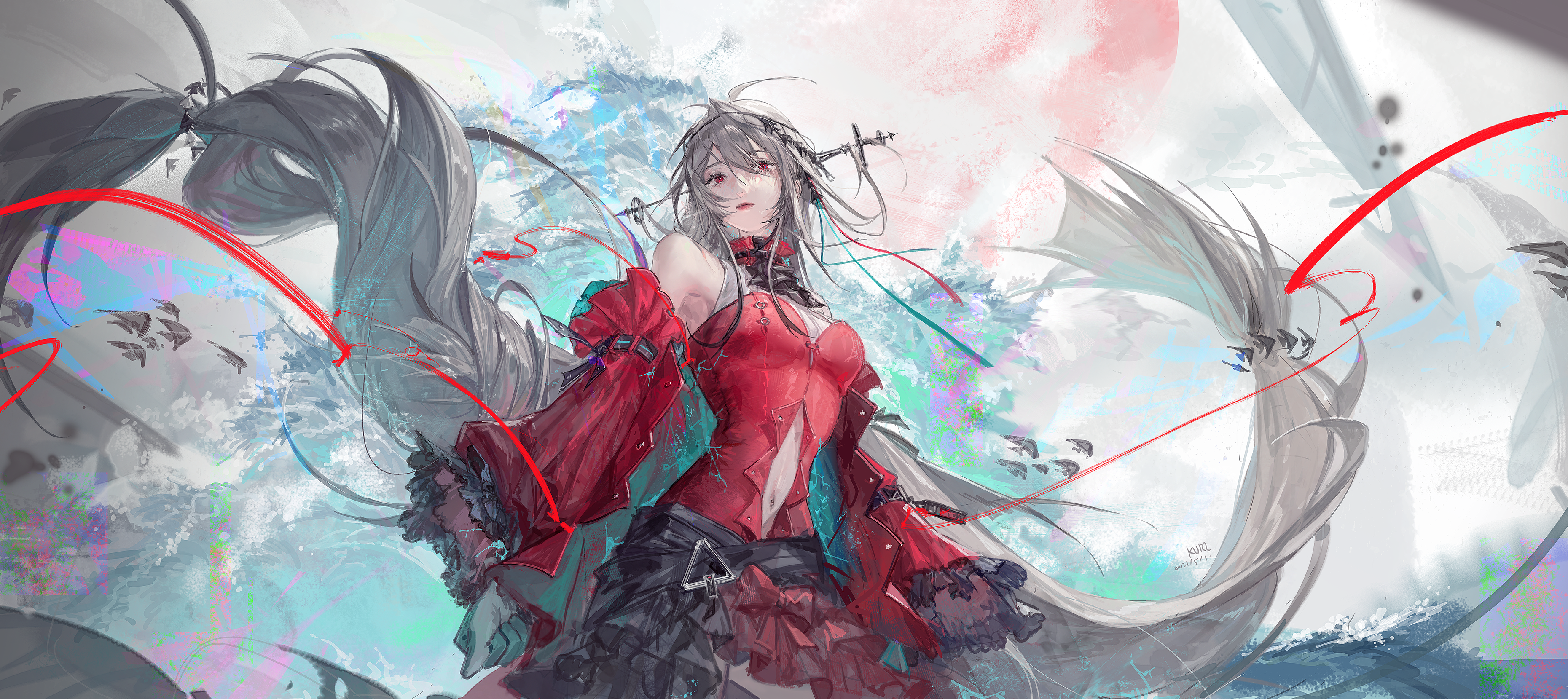 Anime Anime Girls Arknights Skadi Arknights Blonde Long Hair Red Dress Clouds Red Eyes Ribbons Looki 3720x1659