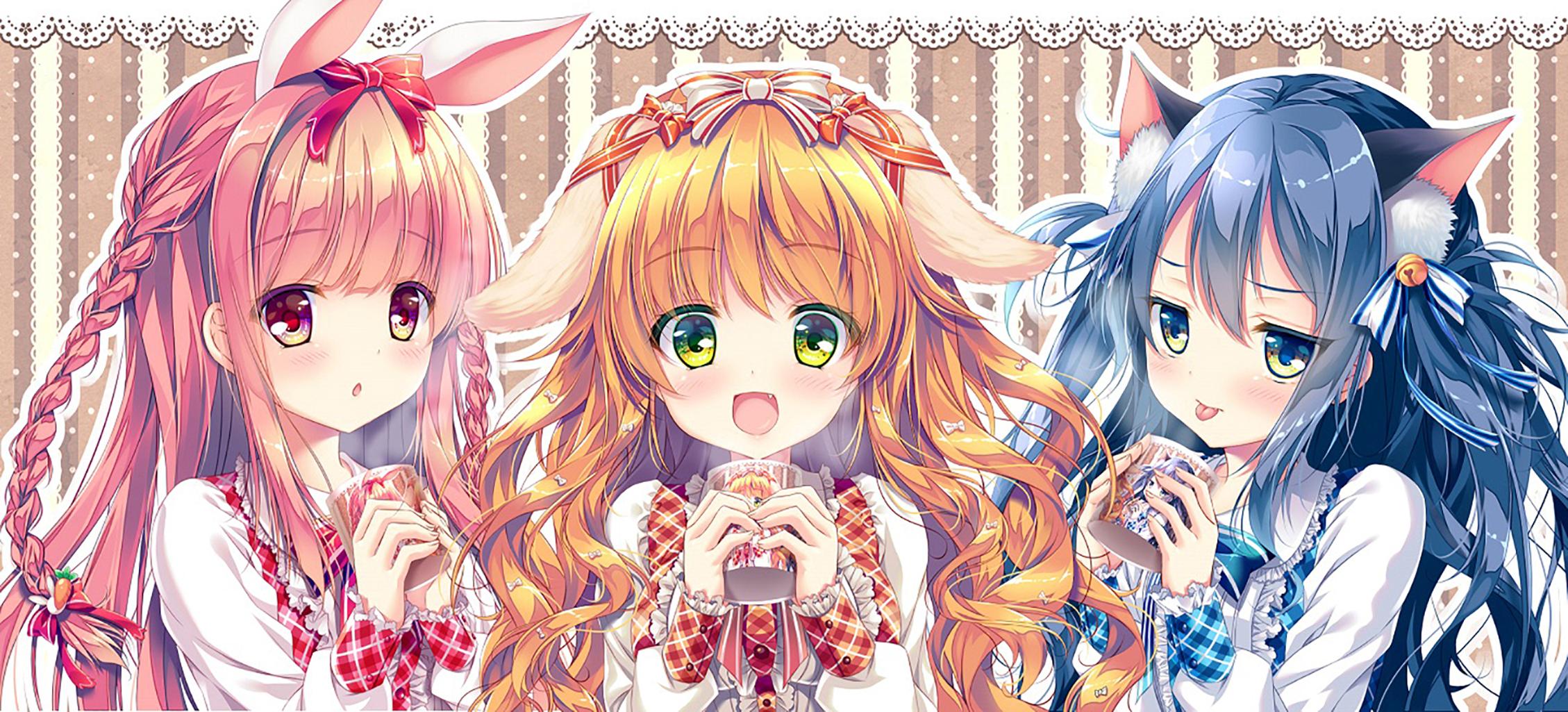 Pink Hair Orange Hair Blue Hair Long Hair Ribbon Red Eyes Green Eyes Blue Eyes Dress 2258x1025