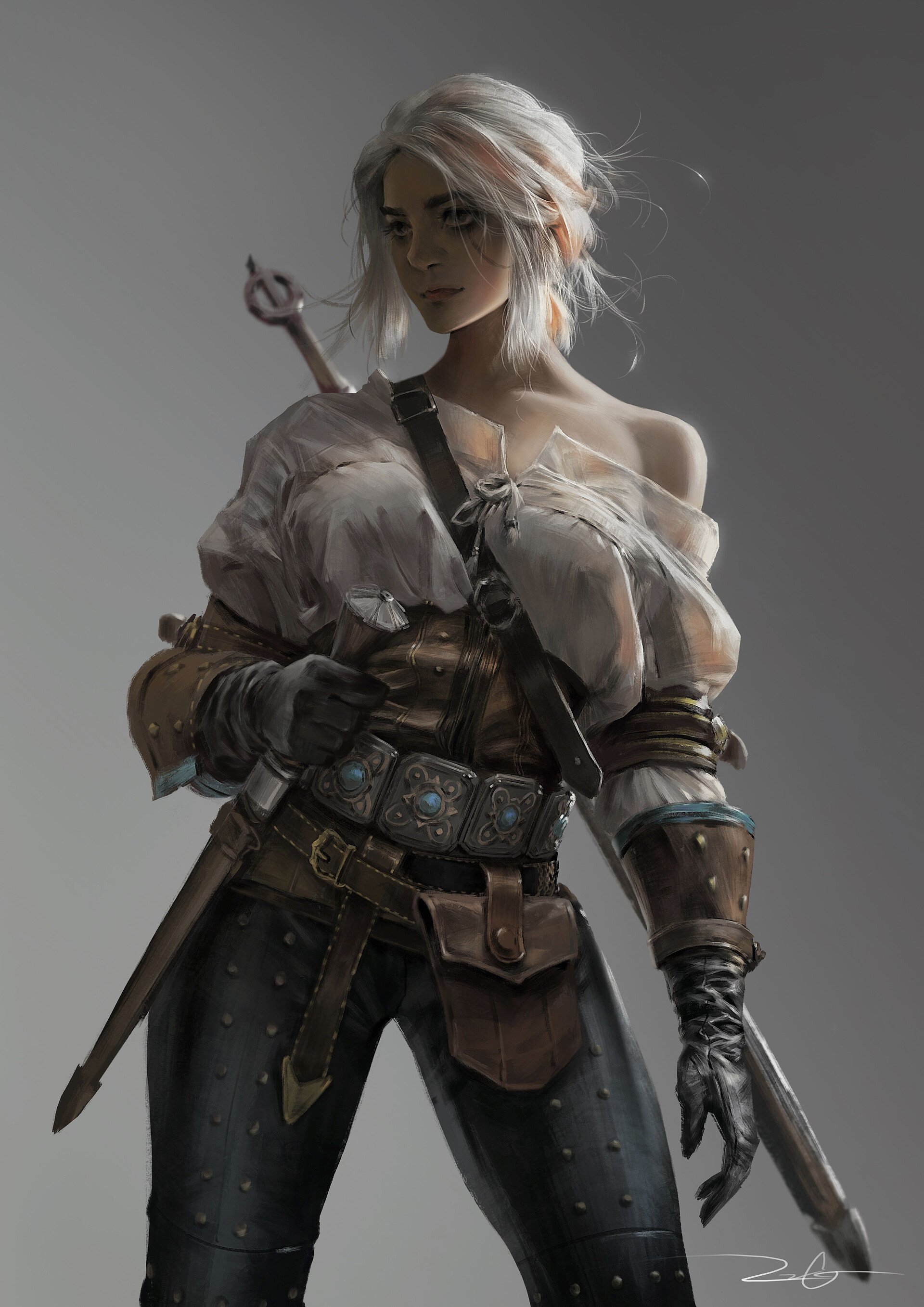 Vinci R Video Game Girls Video Game Characters White Hair Blonde Women The Witcher 3 The Witcher 3 W 1920x2715