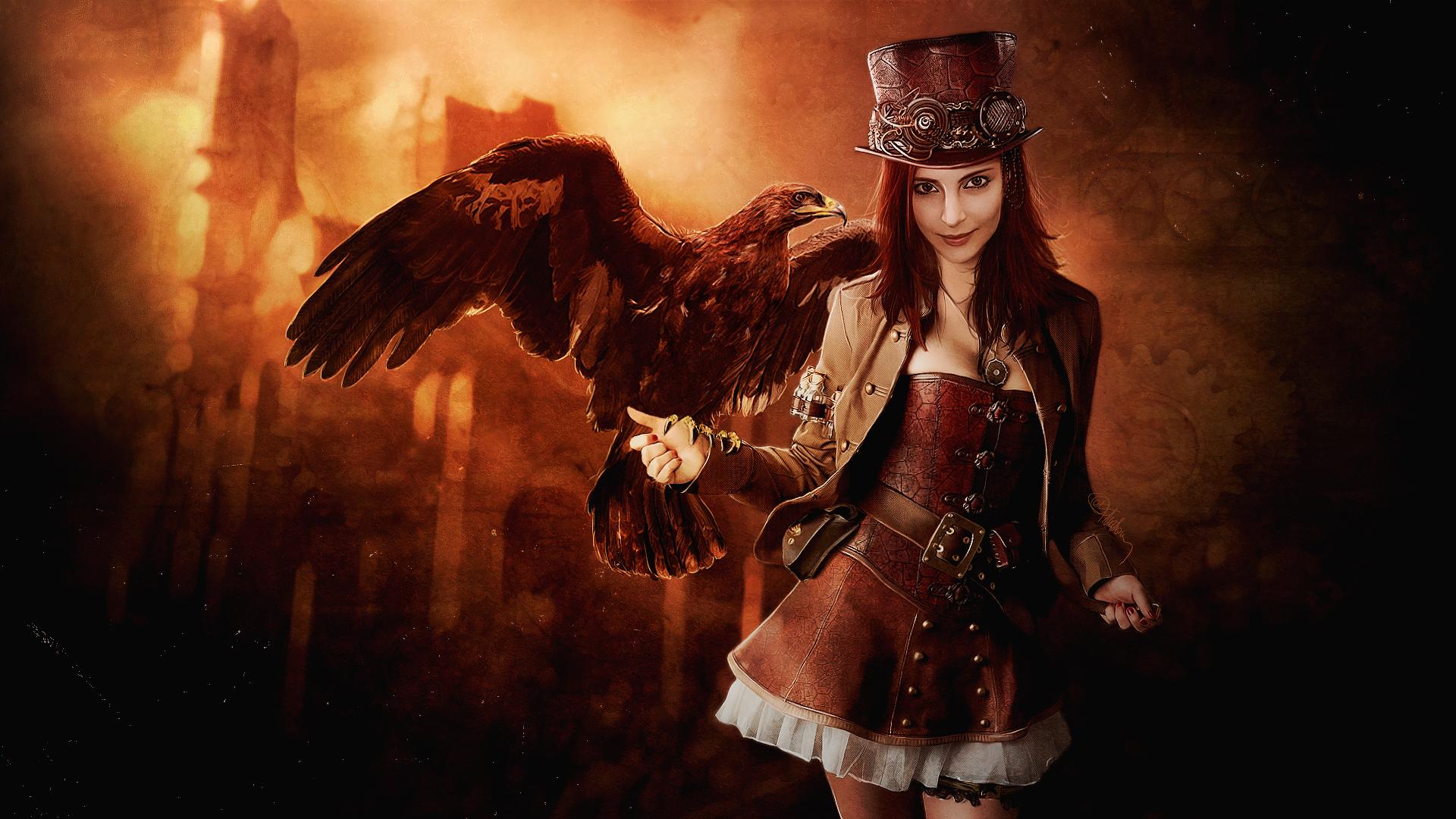 Woman Steampunk Eagle Hat 1920x1080