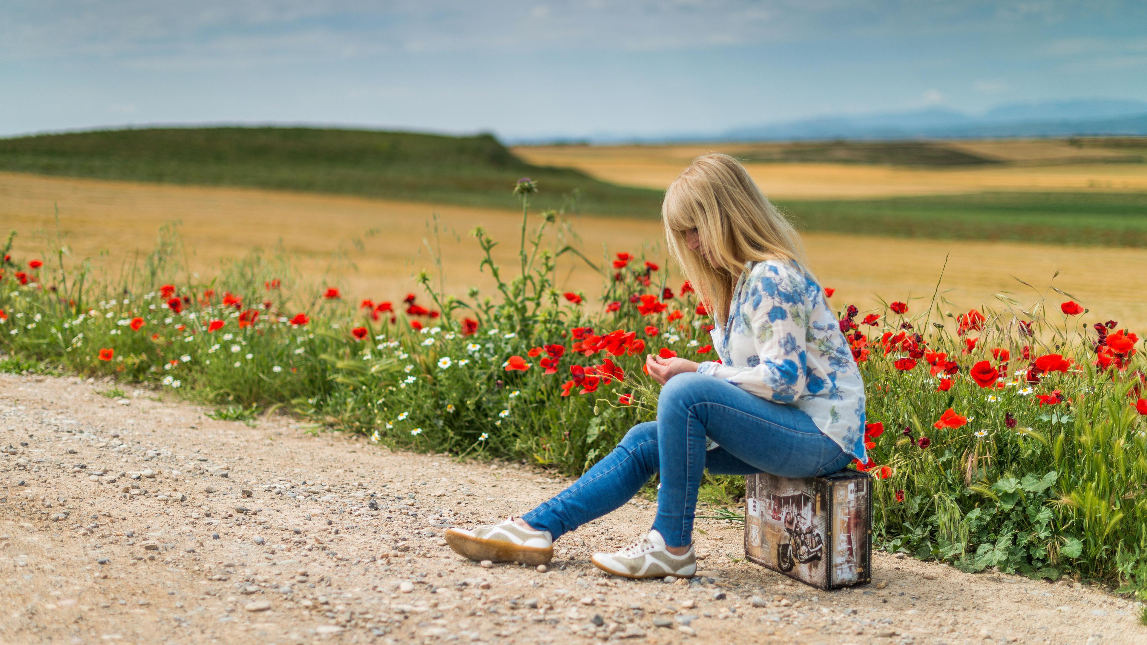 Field Flower Poppy Jeans Blonde Suitcase 3840x2160