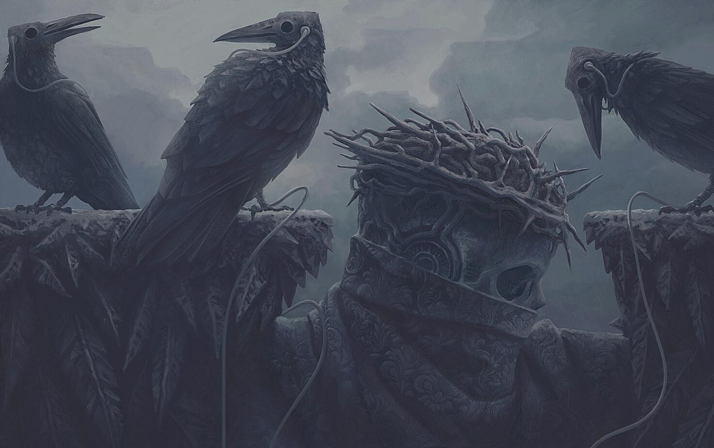 Digital Art Fantasy Art Alexey Egorov Crown Of Thorns Crow Music 1473x925