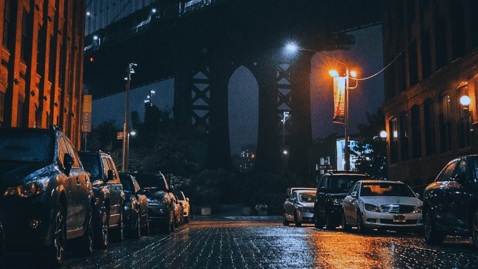 Car Night City Street USA New York City Manhattan Bridge 1920x1080