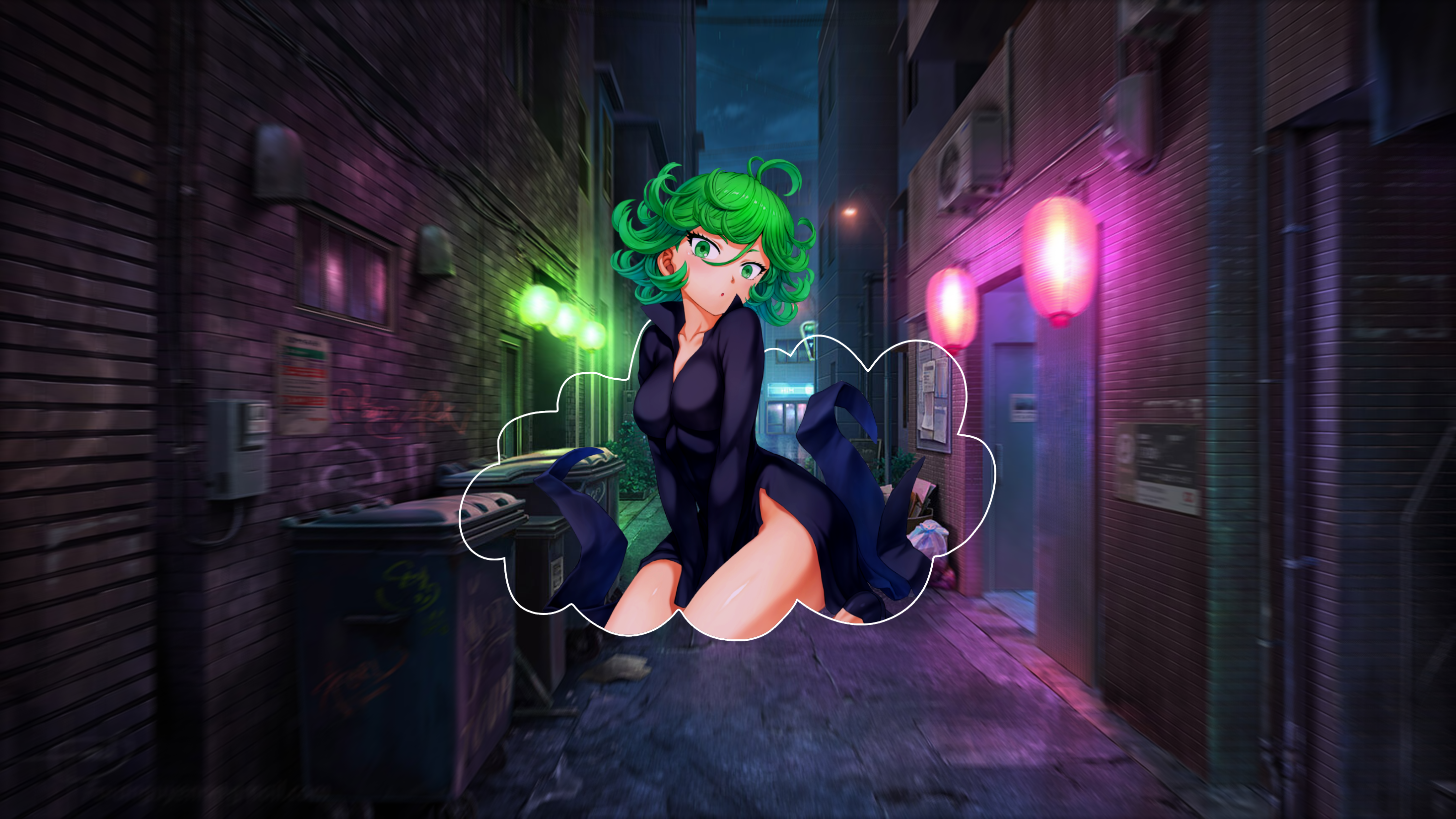 Anime Girls Tatsumaki Picture In Picture Digital One Punch Man 2933x1650