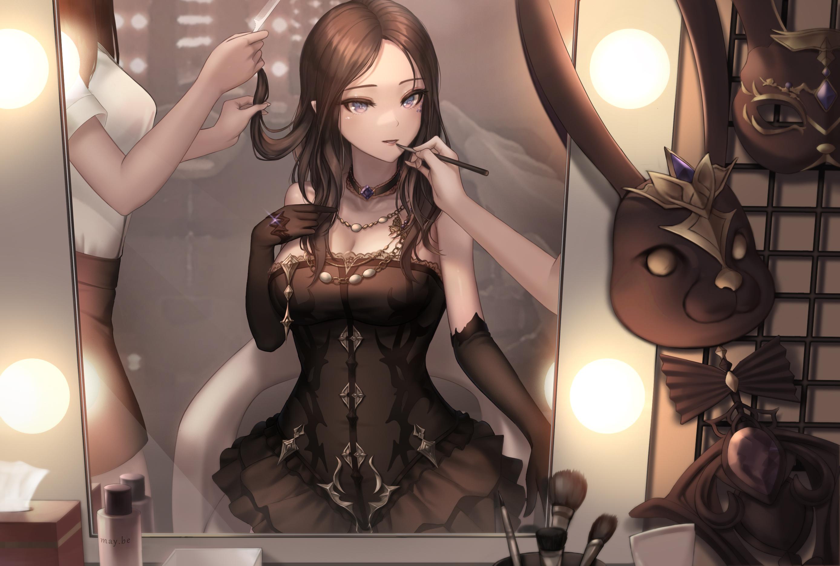 Anime Anime Girls Kie Artwork Lostark Reflection Dress Brunette Elbow Gloves 2776x1871