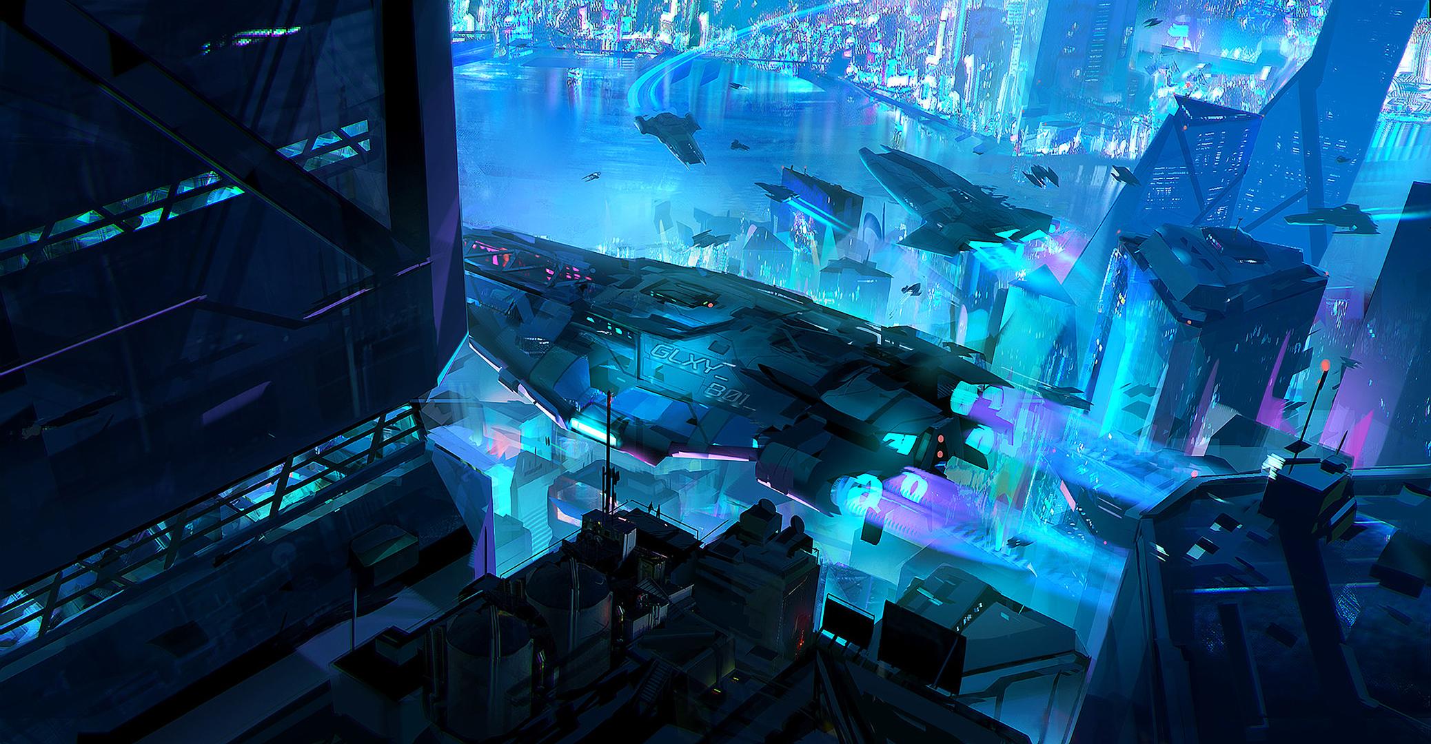 Night Spaceship Cyberpunk Cityscape 2076x1080