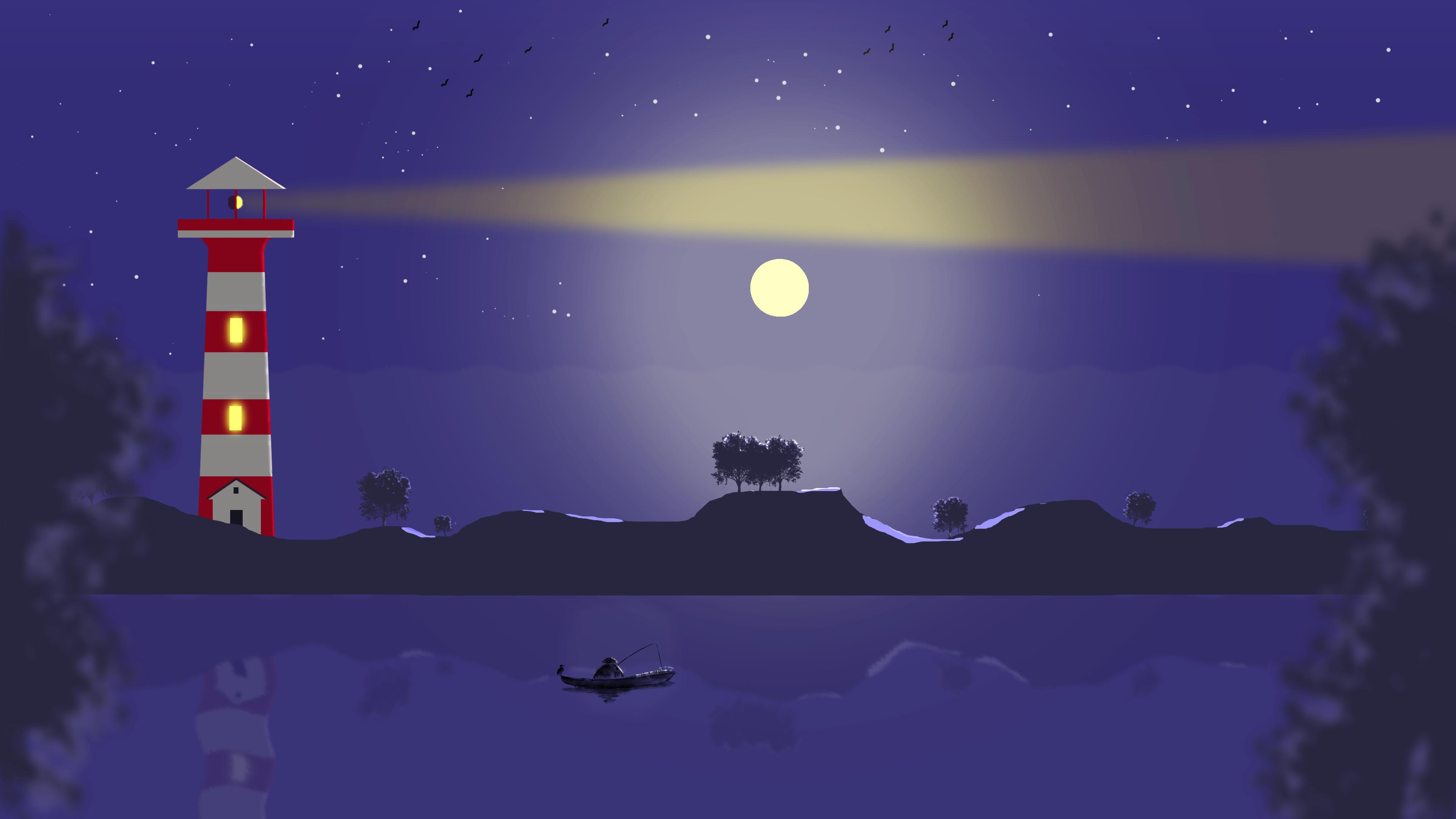 Landscape Lighthouse Moon Night 3840x2160