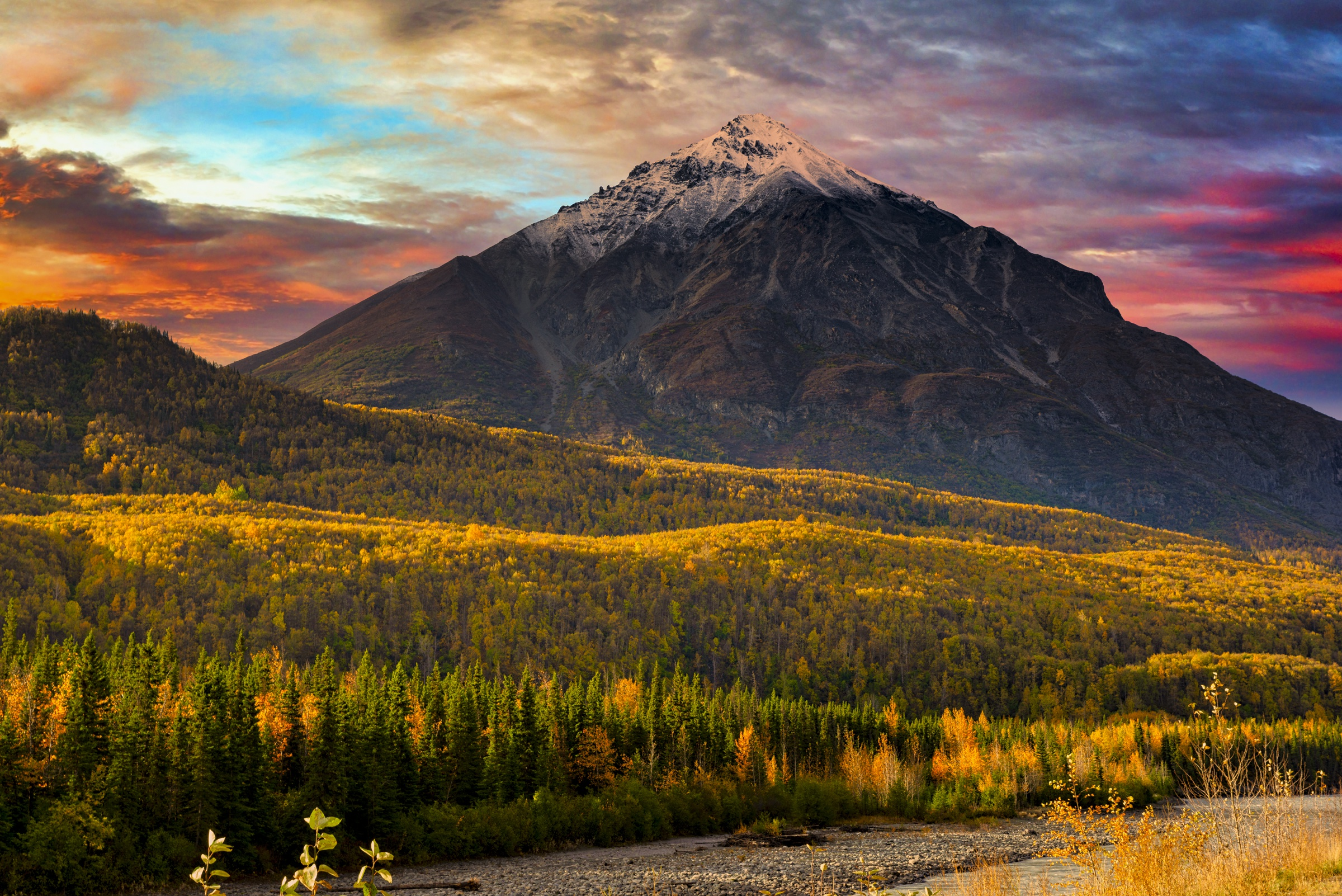 Fall Landscape Nature Alaska Usa Forest 2400x1602