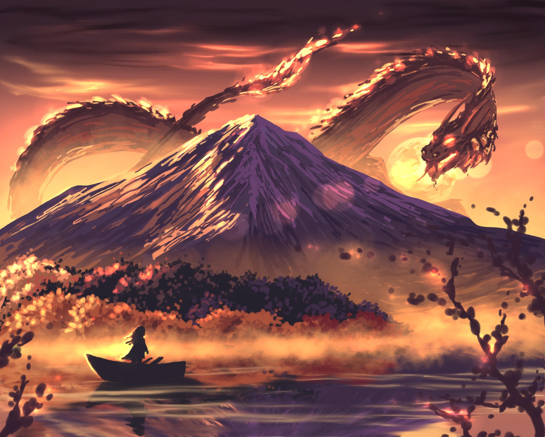 Landscape Mountains Dragon Digital Art Artwork River Sky Moon Lake Shiny Lights Sunset Nature Boat W 3000x2400