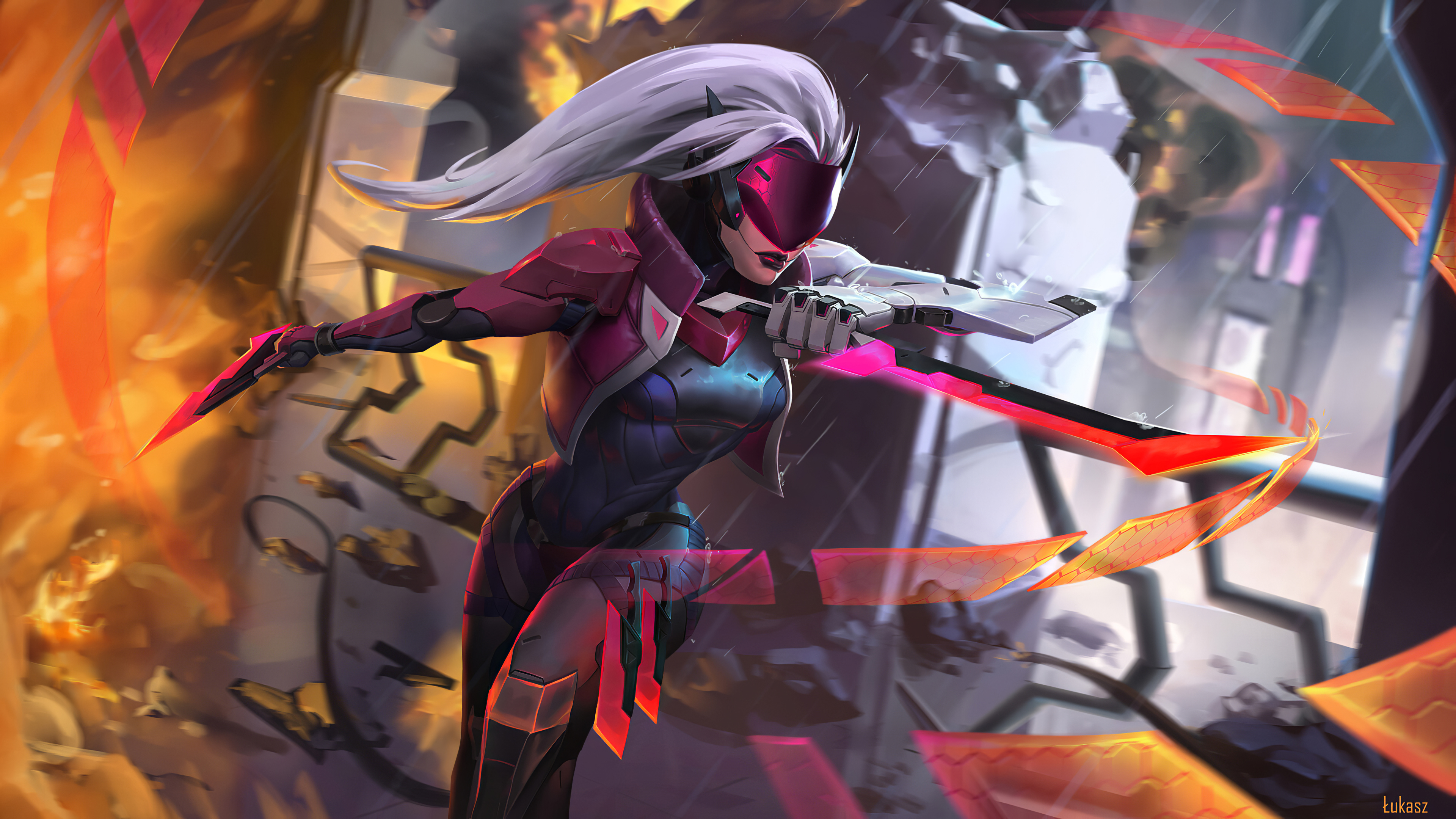 Katarina League Of Legends Woman Warrior White Hair 3840x2160