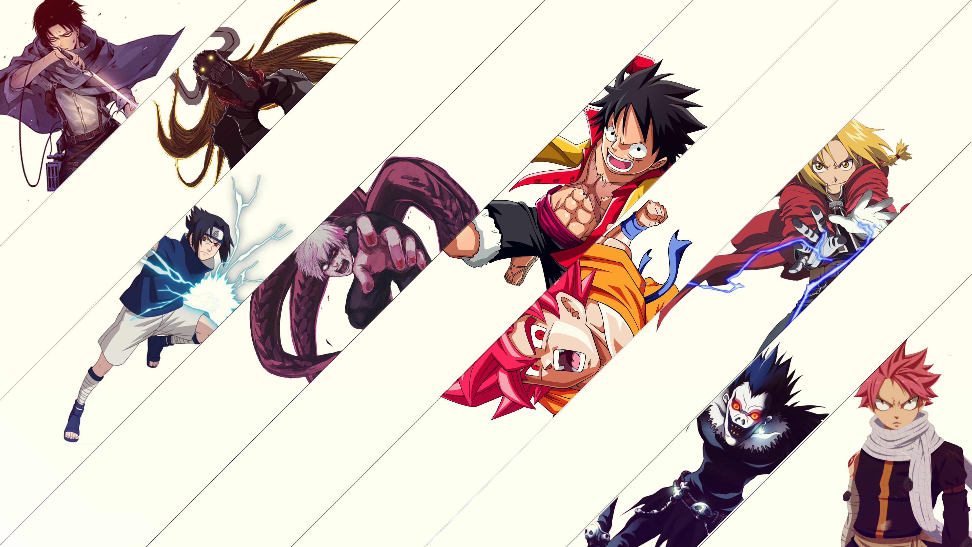 Shingeki No Kyojin Dragon Ball Fairy Tail Ryuk Death Note Death Note Edward Elric Fullmetal Alchemis 3840x2160