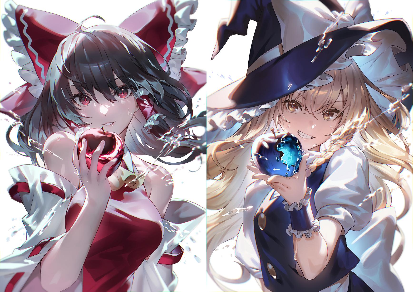 Anime Anime Girls Digital Art Artwork 2D Portrait Hakurei Reimu Kirisame Marisa Touhou Uu Uu Zan App 1736x1228