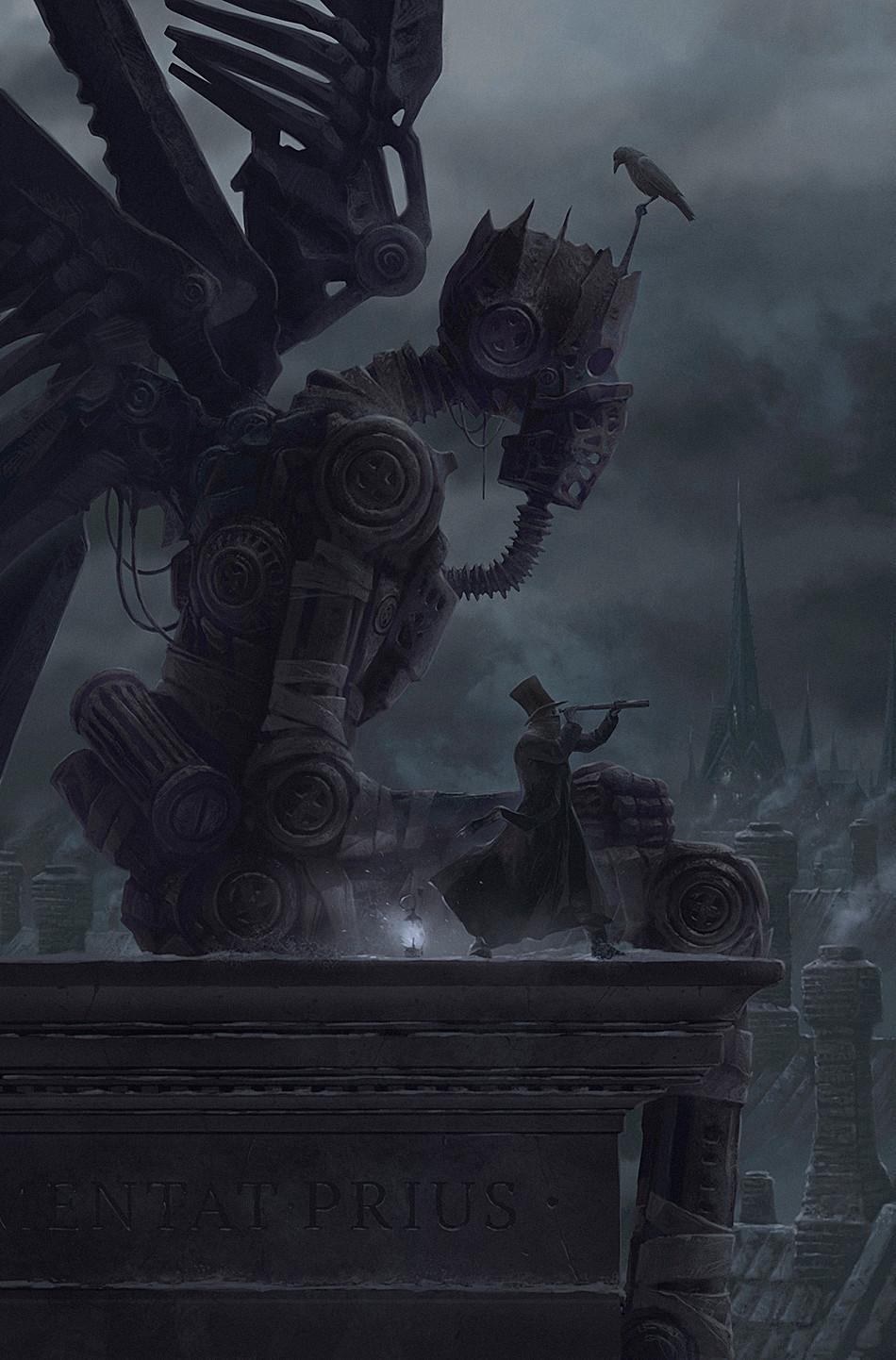 Digital Art Fantasy Art Alexey Egorov Frankenstein Fantasy City Robot 950x1442