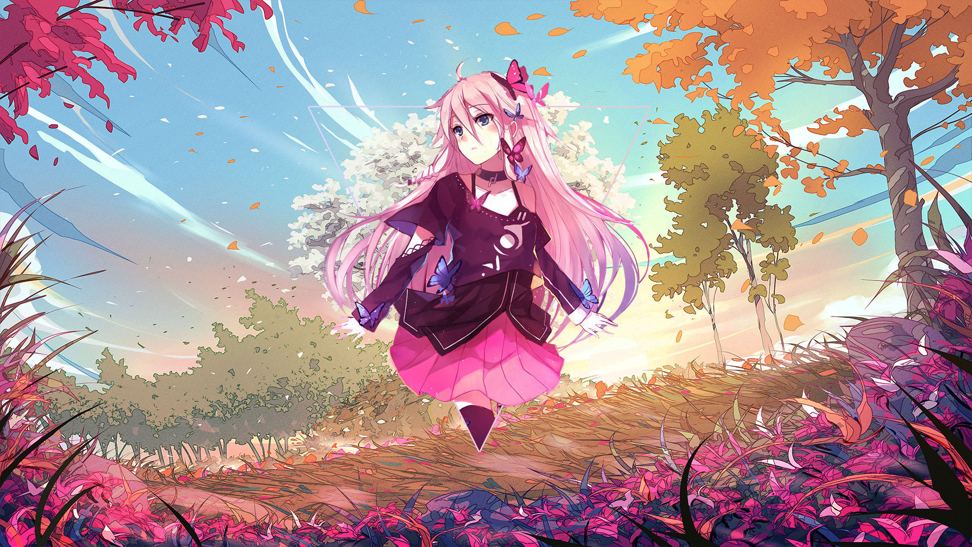 Anime Anime Girls Rose Landscape Picture In Picture Photoshop Triangle Abstract Metalanguage Digital 1920x1080