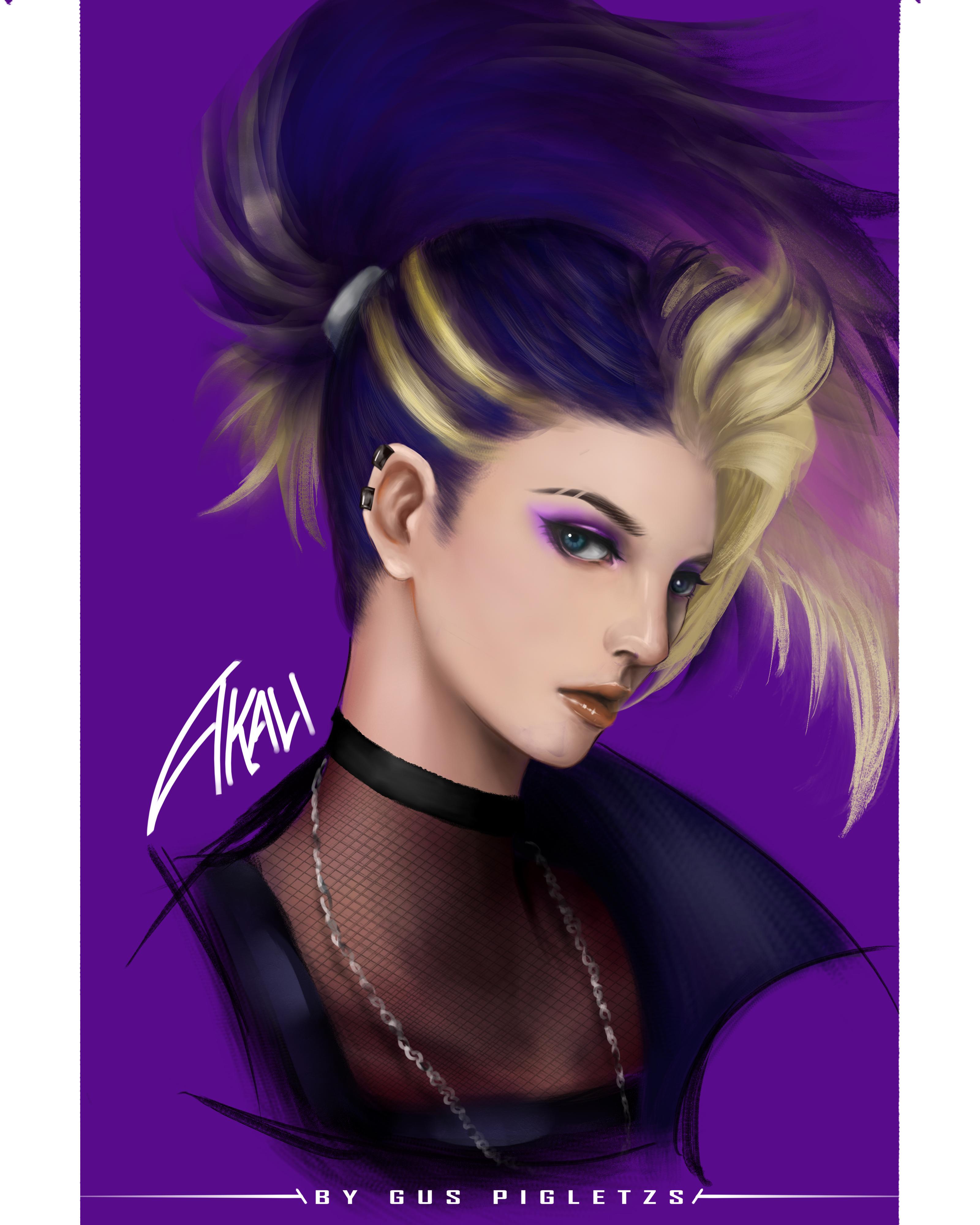Anime Games League Of Legends Akali Akali League Of Legends Character Design Portrait Illustration G 3200x4000