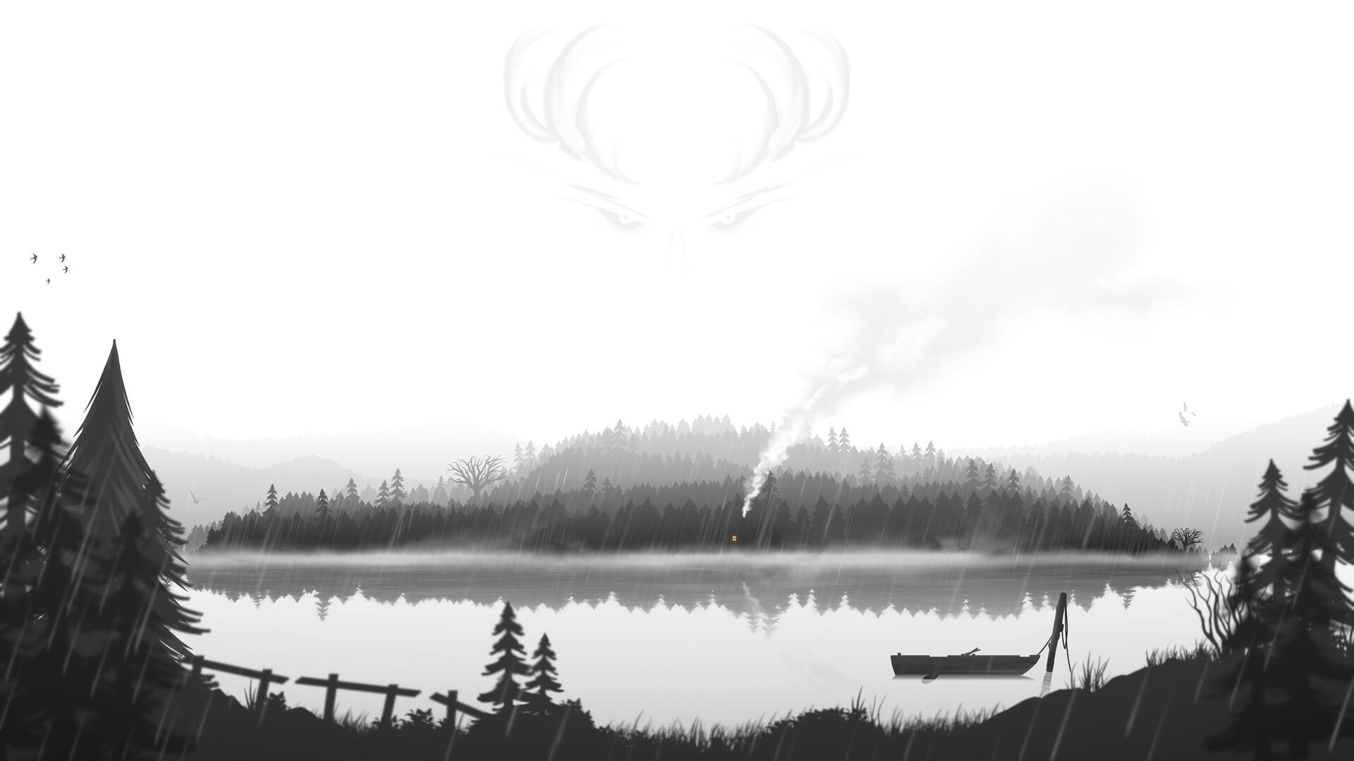 Fredrik Persson Digital Art Island Lake Gray Forest Boat Fantasy Art Eyes Antlers Mist 1920x1080