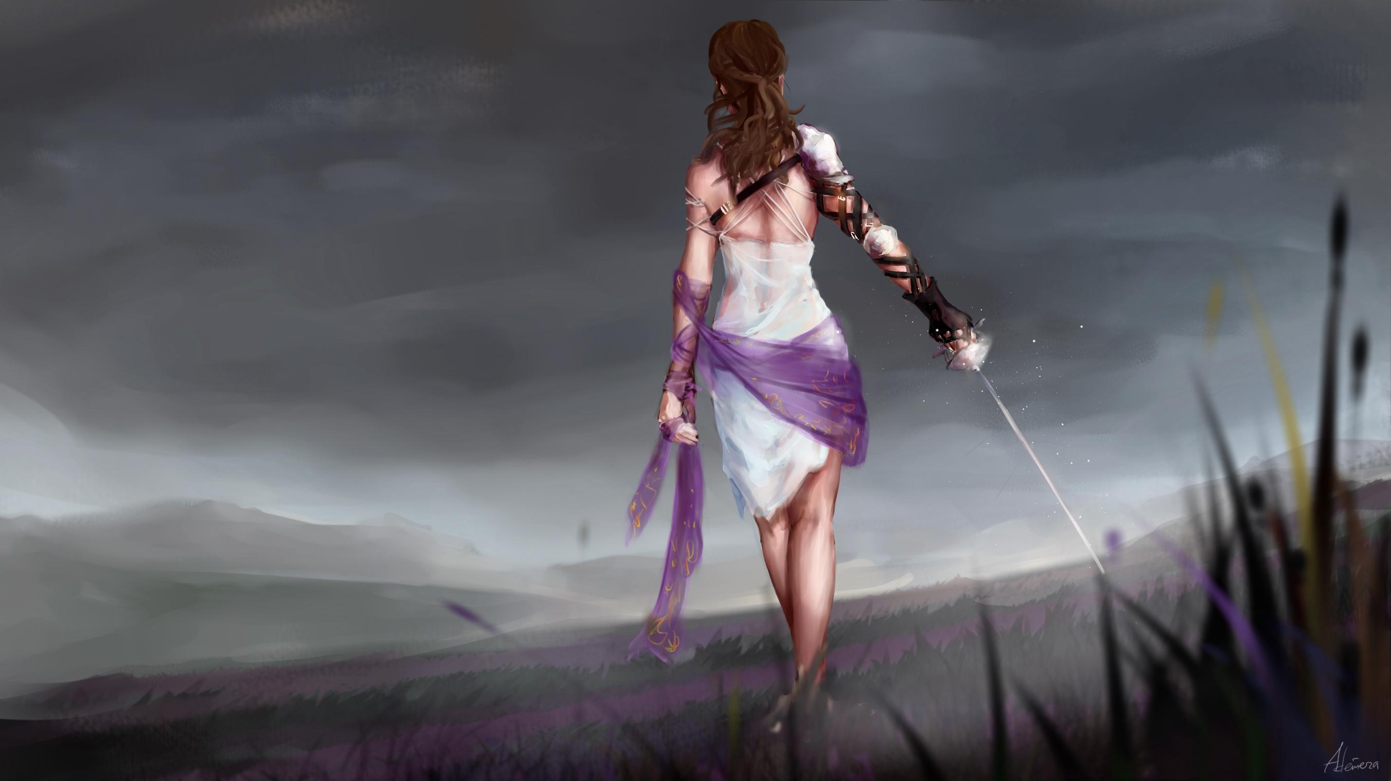 Girl Woman Woman Warrior Sky Landscape 2707x1520