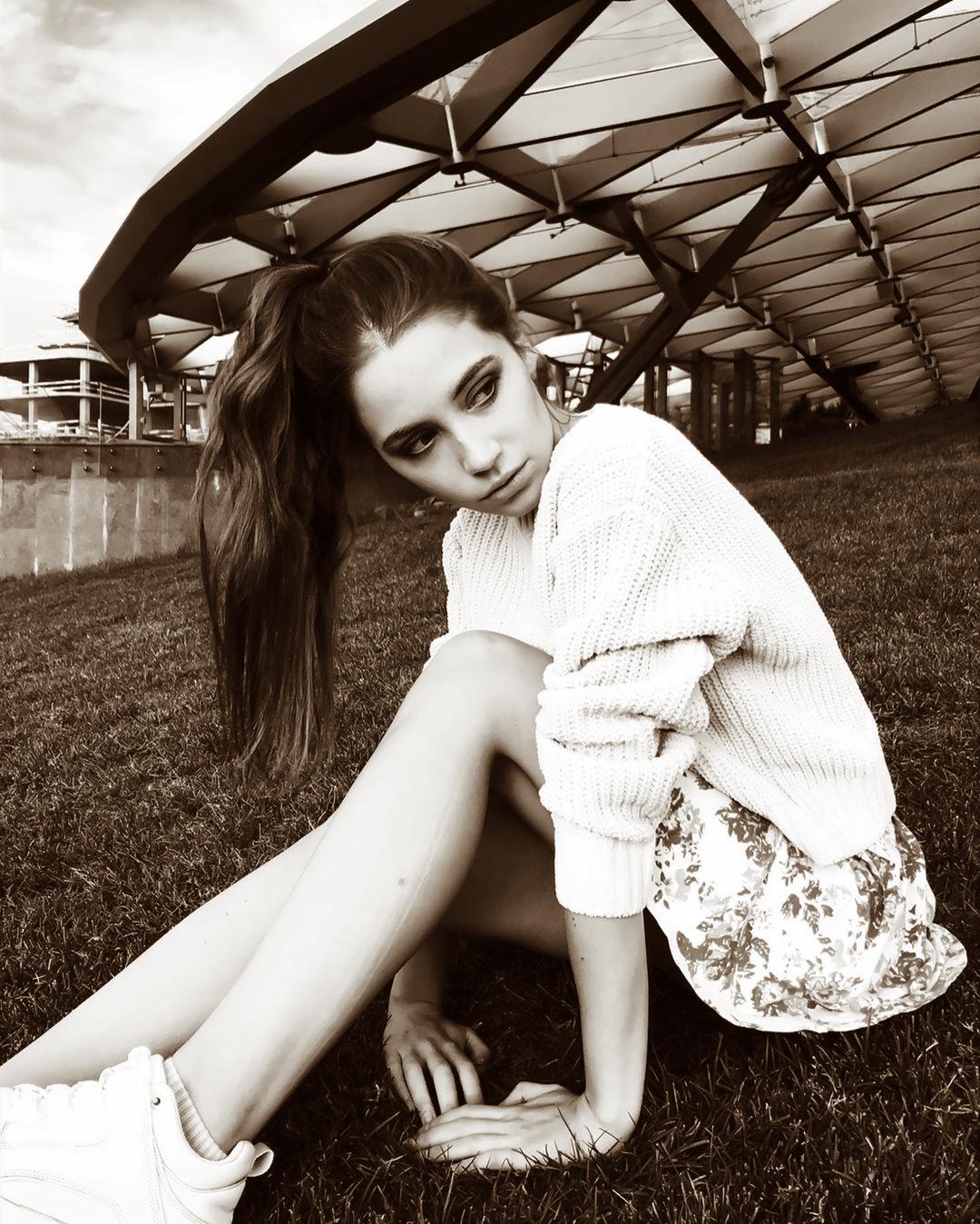 Ksenia Kokoreva Women Long Hair Ponytail Looking Away Legs Sneakers Grass Monochrome Sepia 1080x1348
