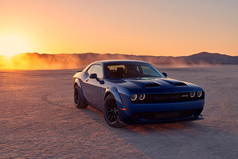 Dodge Luxury Car Desert Sunset Dodge Challenger Srt Hellcat Muscle Car Coupe Blue Car Car 3000x2000