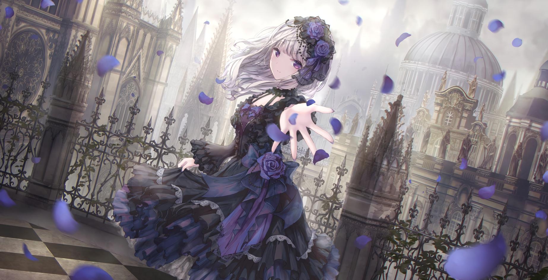Anime Anime Girls Dress Silver Hair Purple Eyes Gothic Lolita Missile228 Artwork 1846x943
