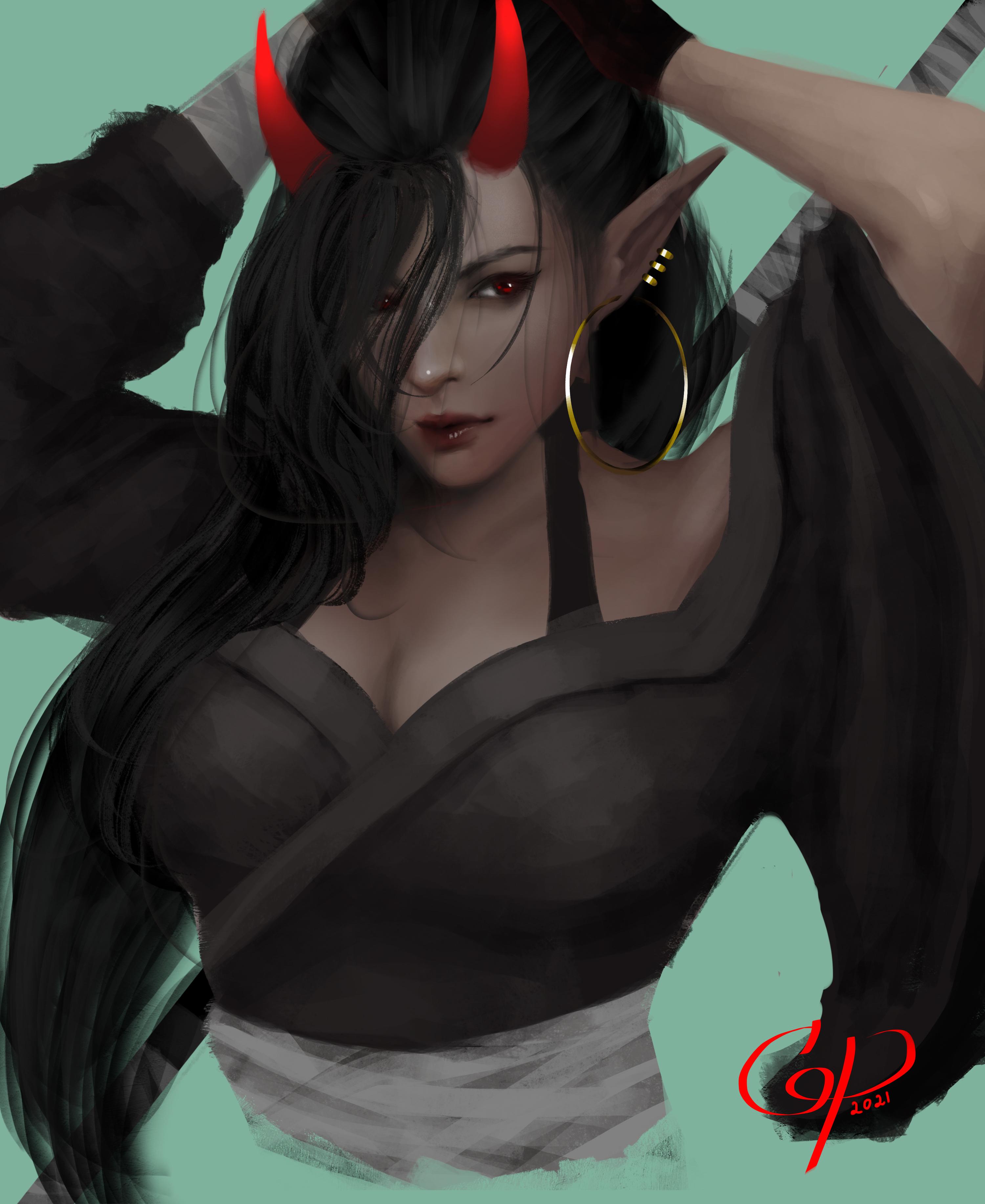 Original Characters Fan Art Character Design Portrait Illustration Horns Red Eyes Gus Piglet 3000x3664
