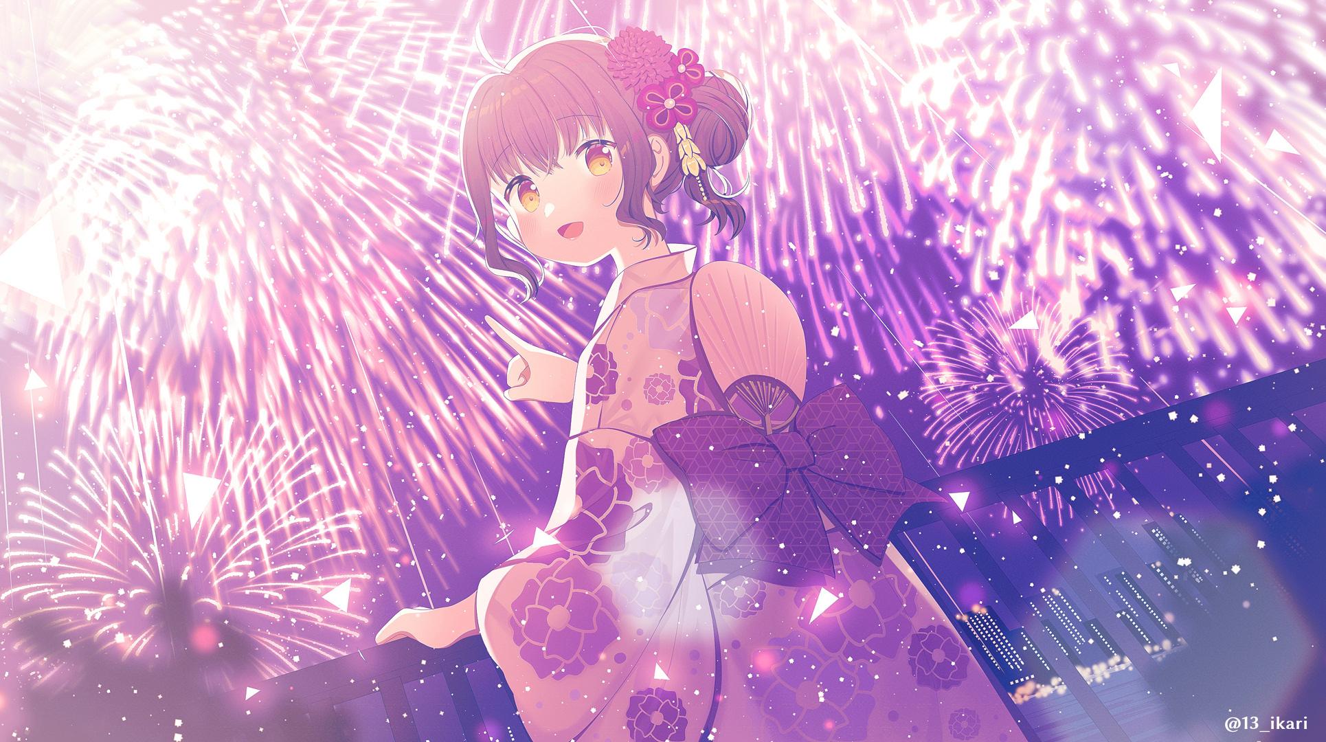 Anime Anime Girls Ikari Artwork Fireworks Japanese Clothes 1930x1080