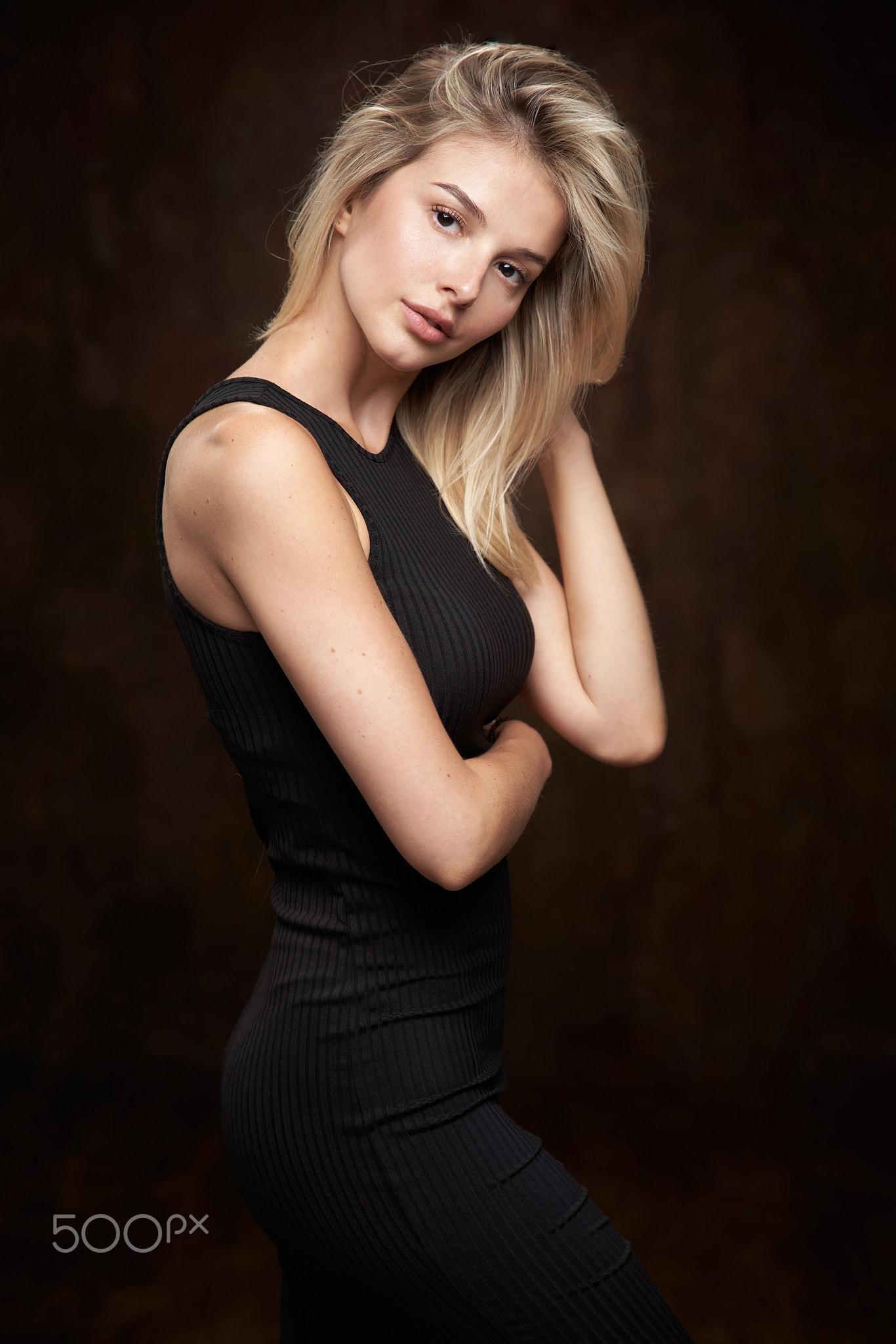 Alexander Vinogradov Women Blonde Long Hair Looking At Viewer Dress Black Clothing Simple Background 1366x2048