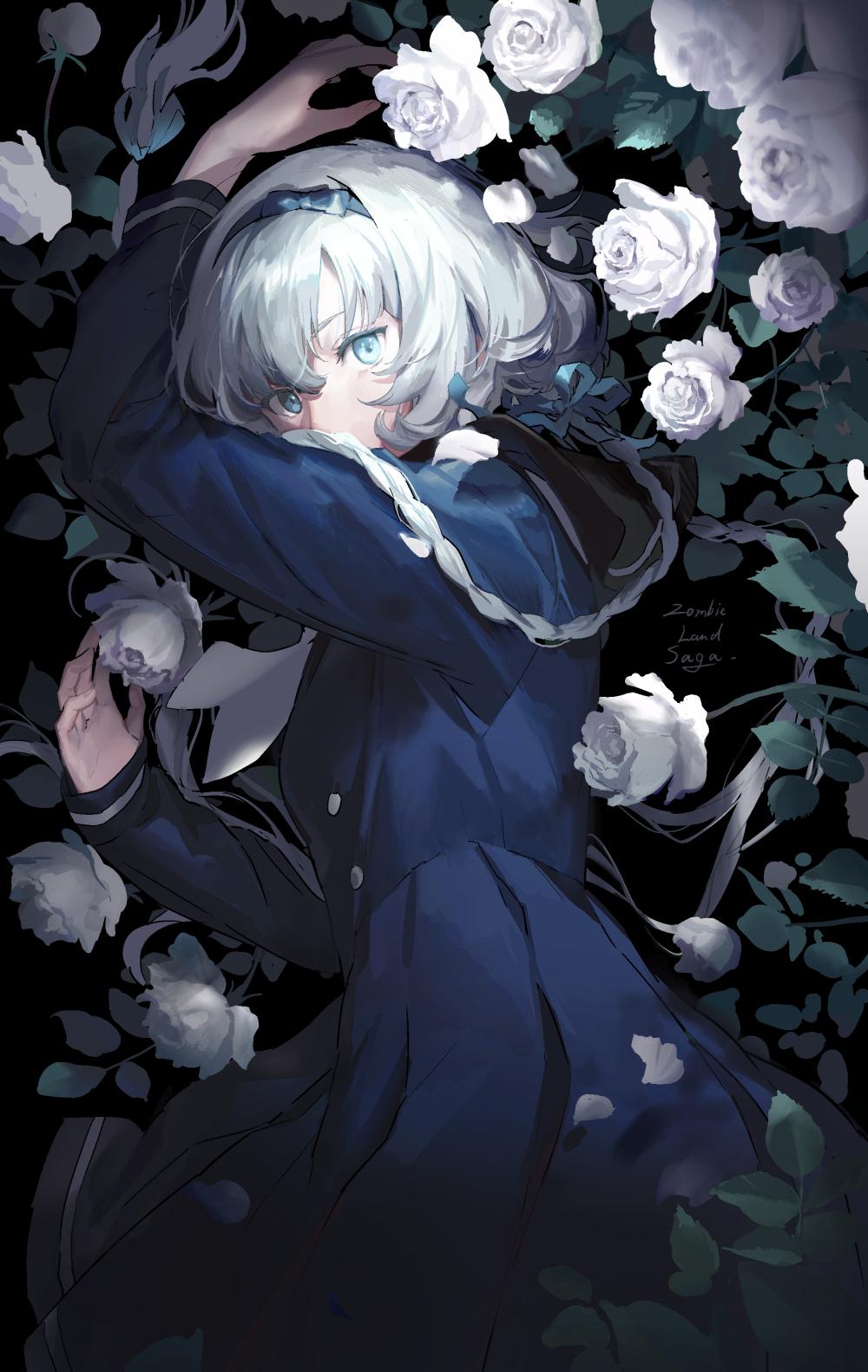 Zombieland Saga White Rose Blue Eyes Anime Braided Hair Silver Hair Solo Blue Dress Sailor Uniform B 1000x1581