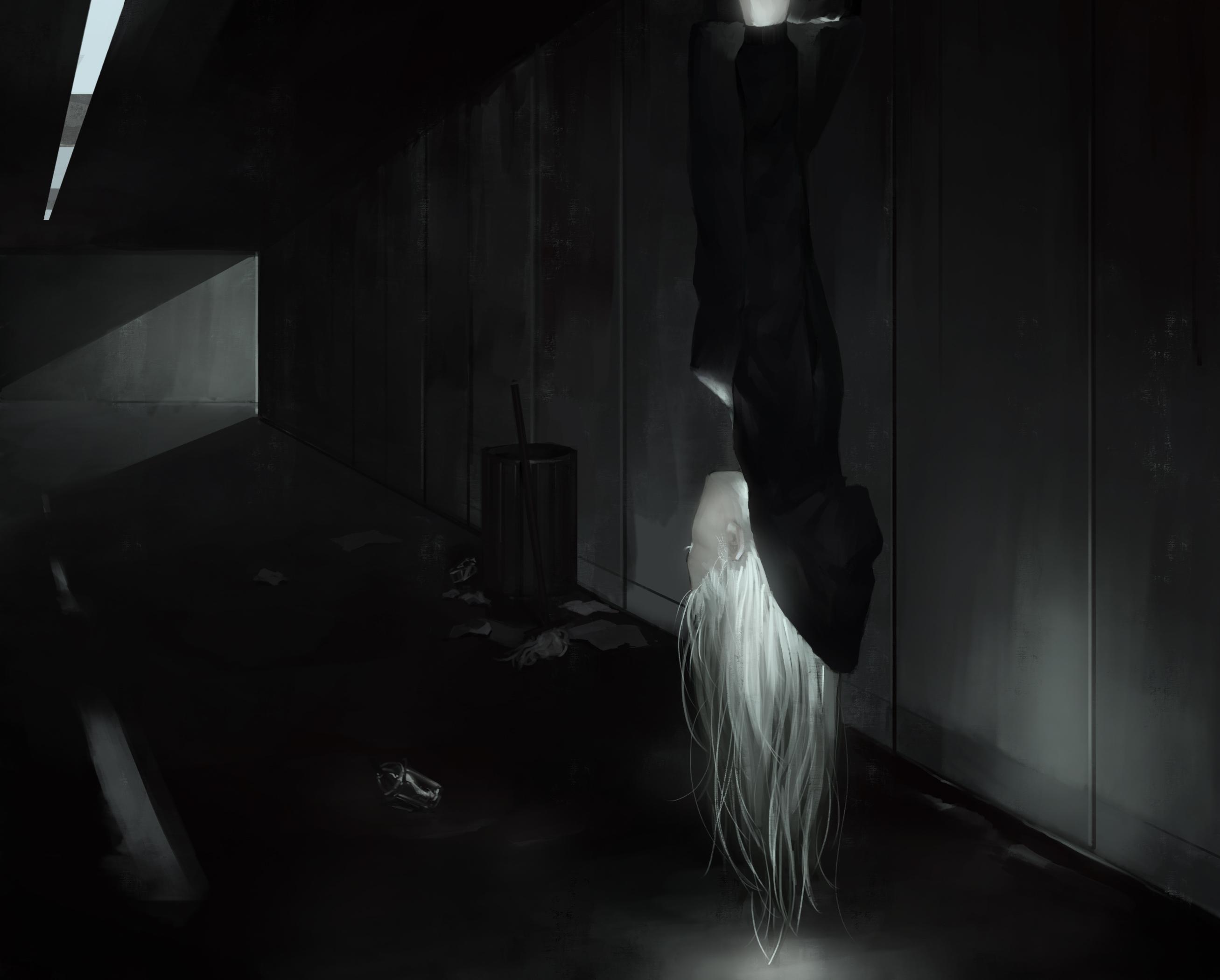 Digital Art Illustration Midfinger White Hair Original Characters Dark 2614x2100