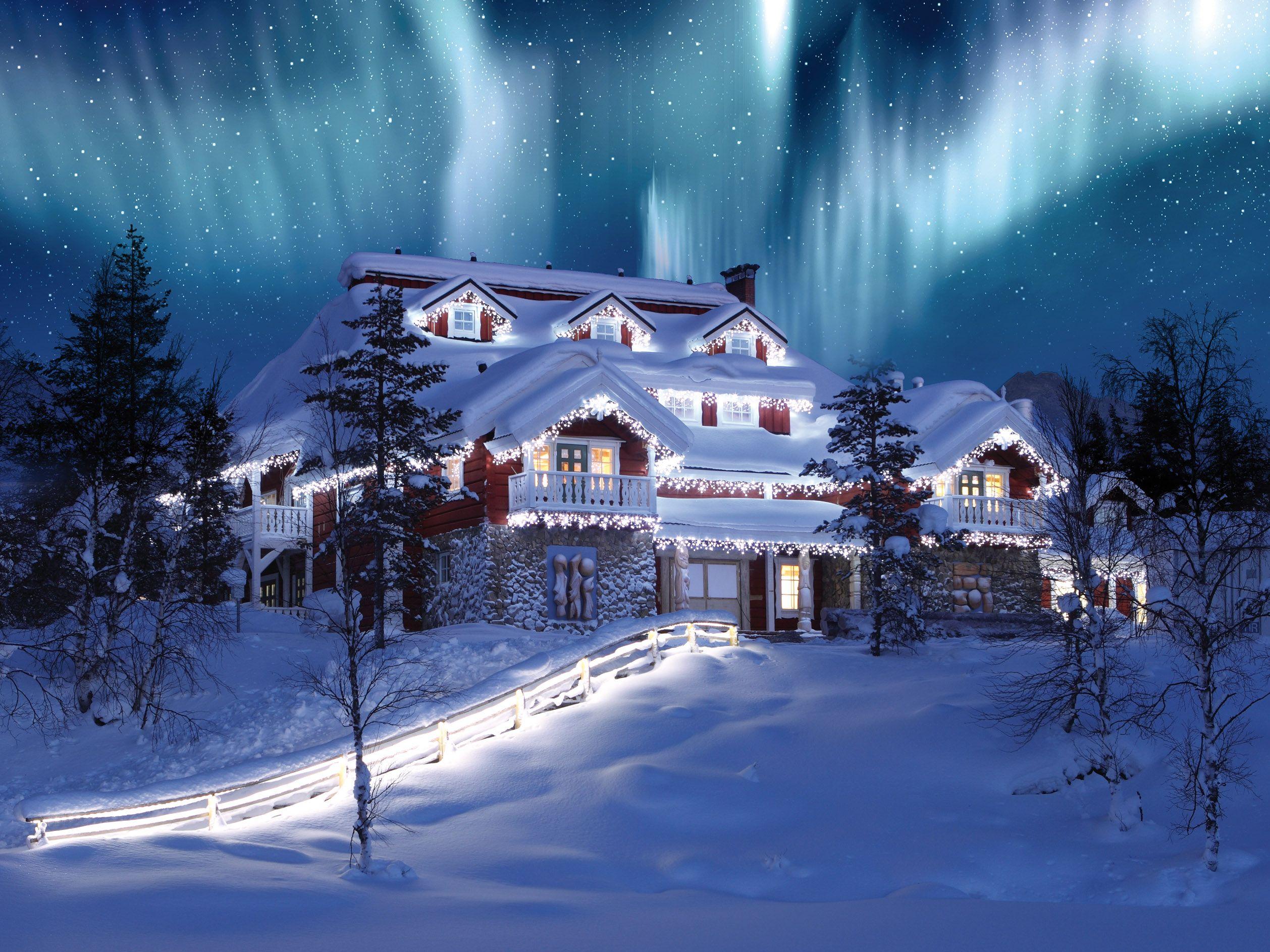 Holiday Christmas House Mansion Light Tree Sky Aurora Borealis Starry Sky Stars 2516x1887