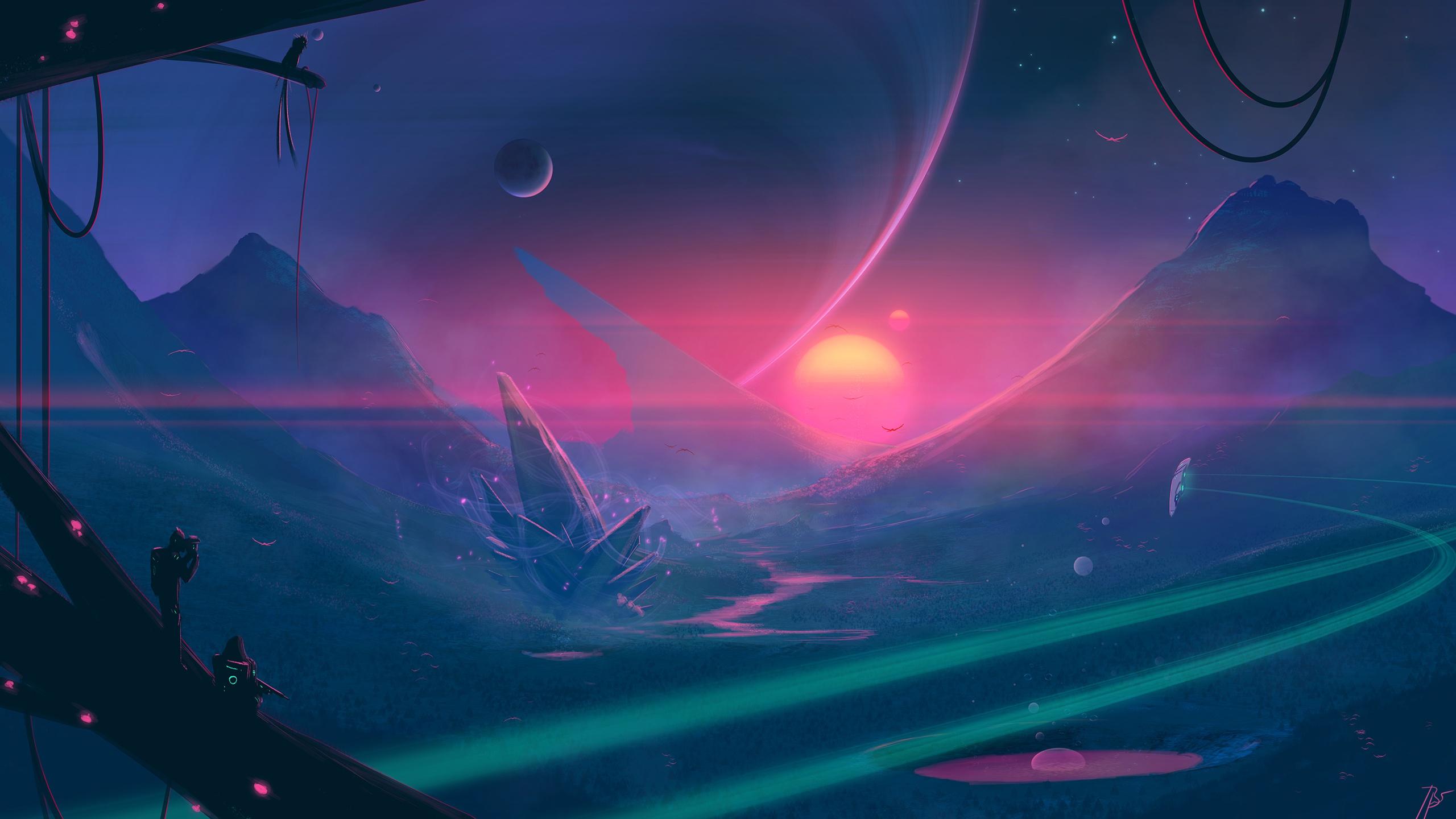 Moon Mountain Spaceship Exploration 2560x1440