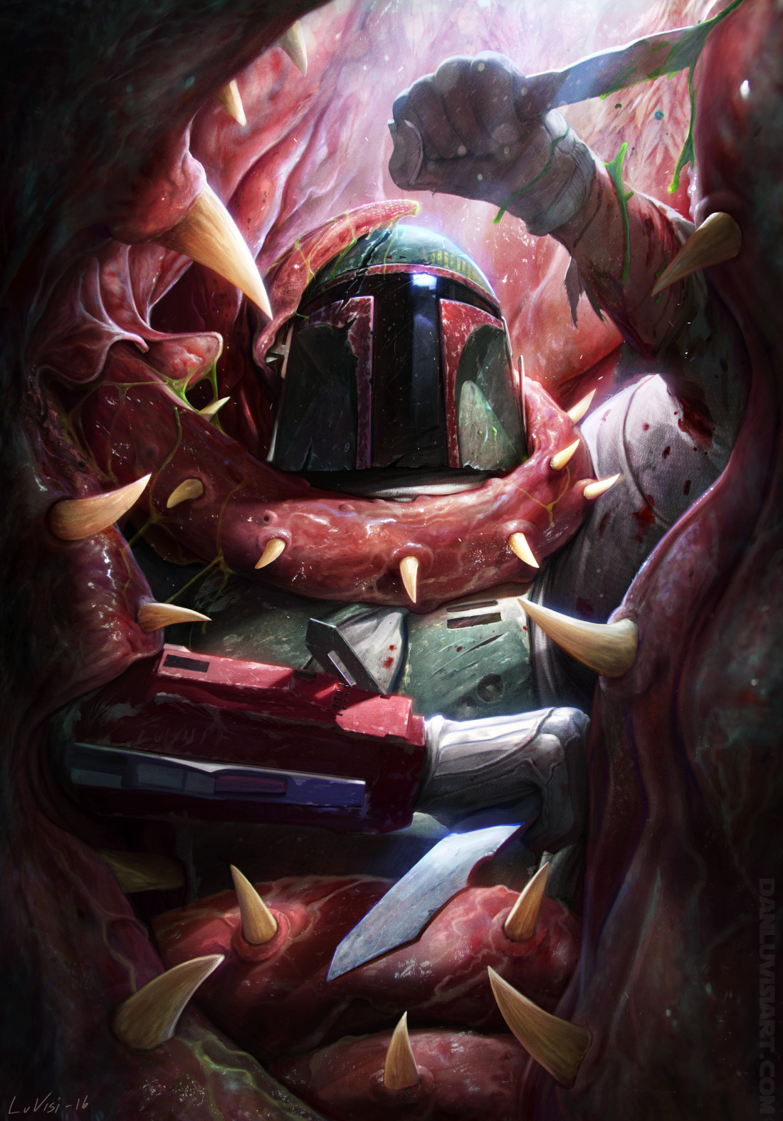 Star Wars Artwork Science Fiction Bounty Hunter Sarlacc Star Wars Villains Villains Creature Dan Luv 1100x1574