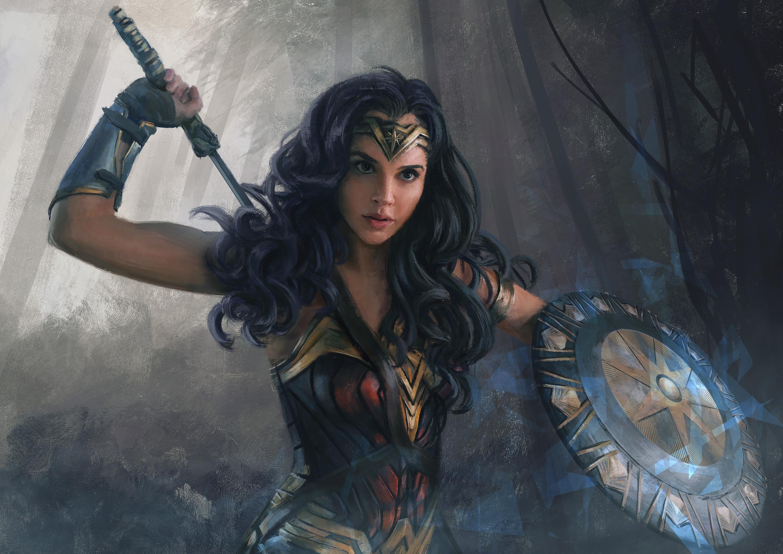 Mandy Jurgens Digital Art Drawing Artwork Wonder Woman Gal Gadot DC Comics Sword Shield Diana 3000x2121