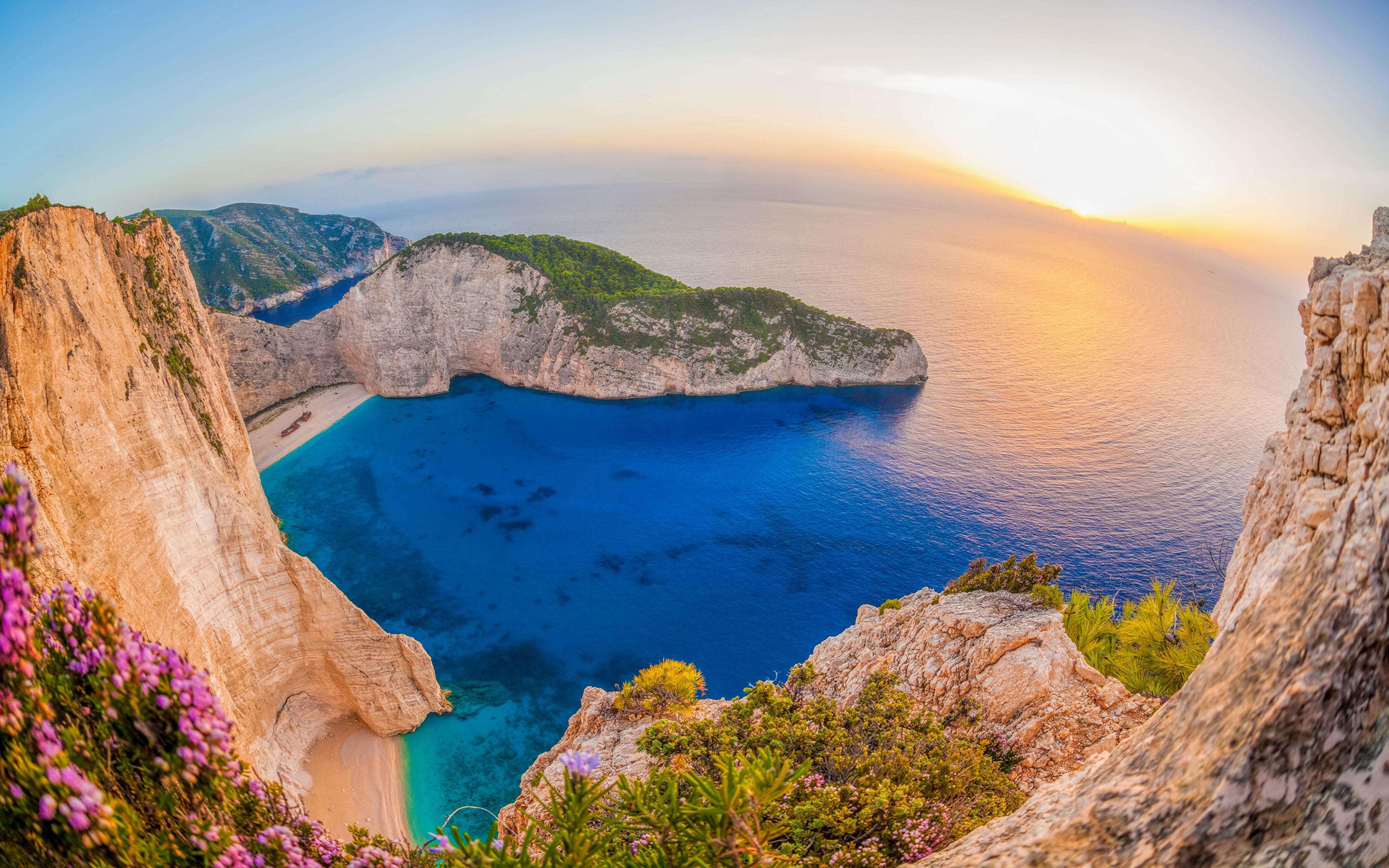 Beach Greece Horizon Navagio Beach Ocean Rock Sea Zaykanthos 3840x2400