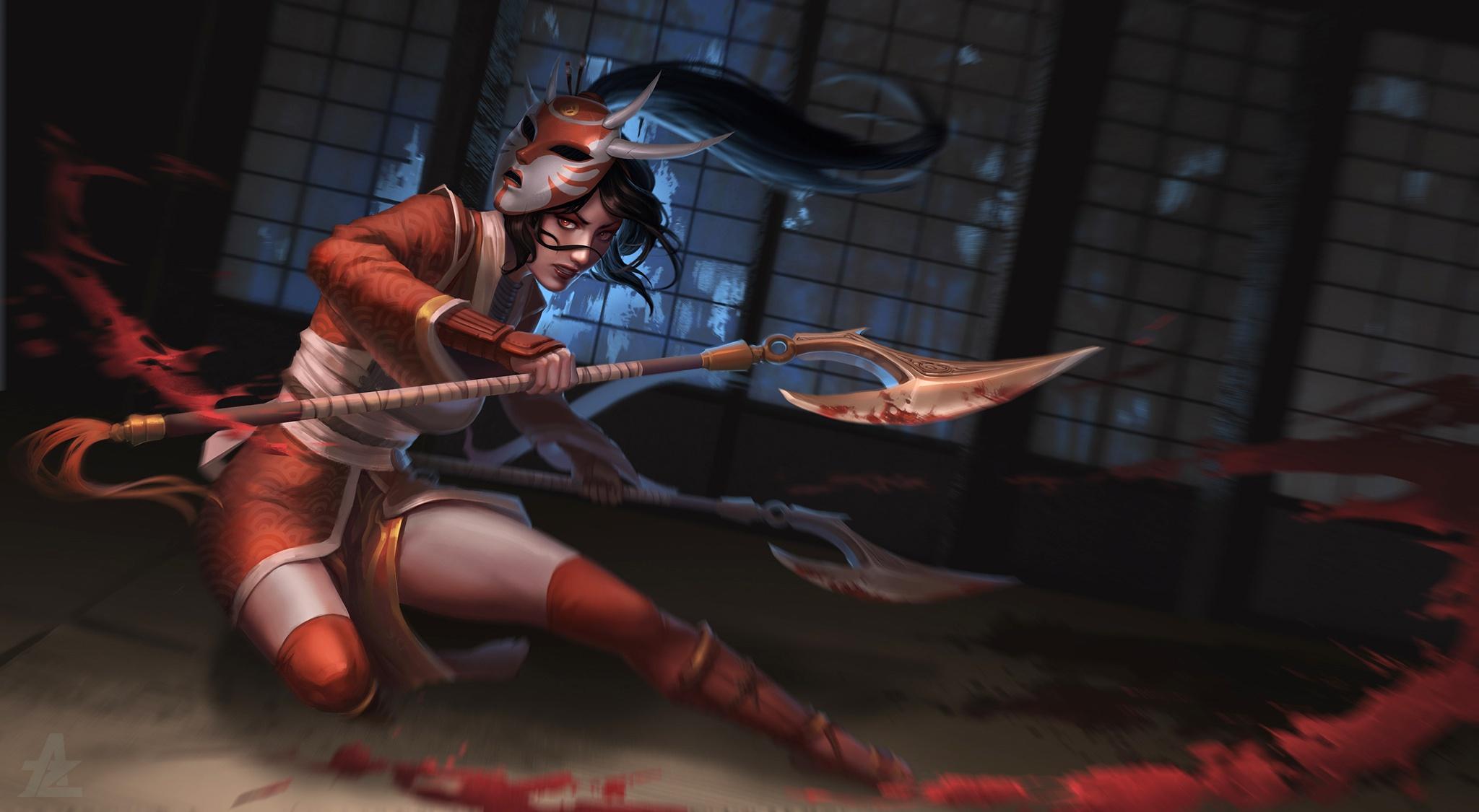 Akali League Of Legends Woman Warrior Oriental Black Hair Mask Weapon Red Eyes 2048x1125