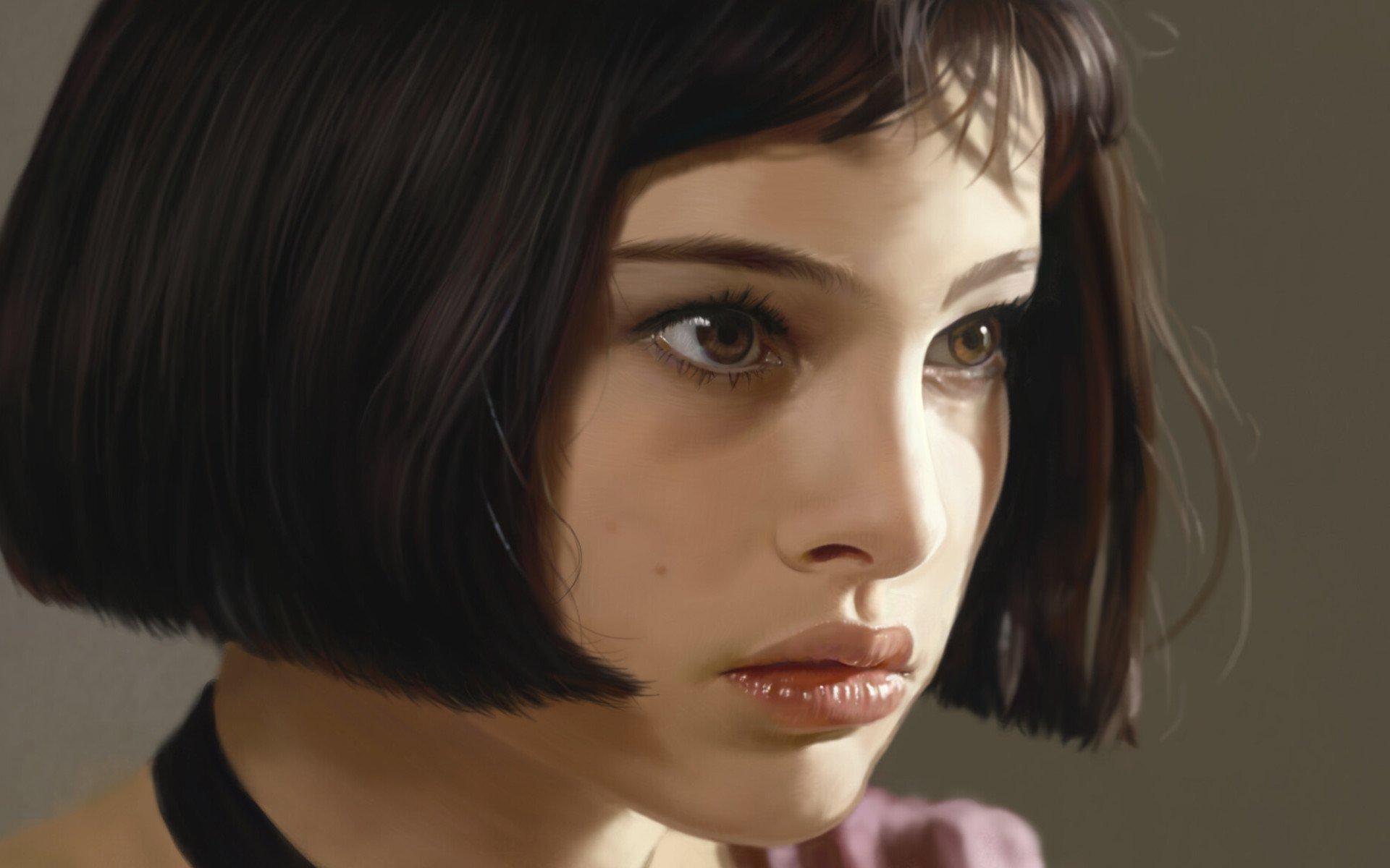 Artwork Women Natalie Portman Leon The Professional Short Hair Face 1920x1200