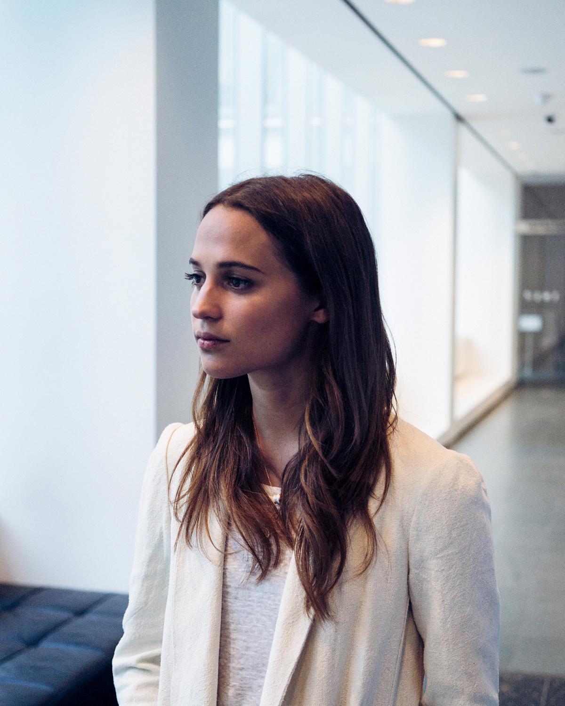 Alicia Vikander Women Actress Indoors Brunette Long Hair White Clothing Swedish 1200x1500